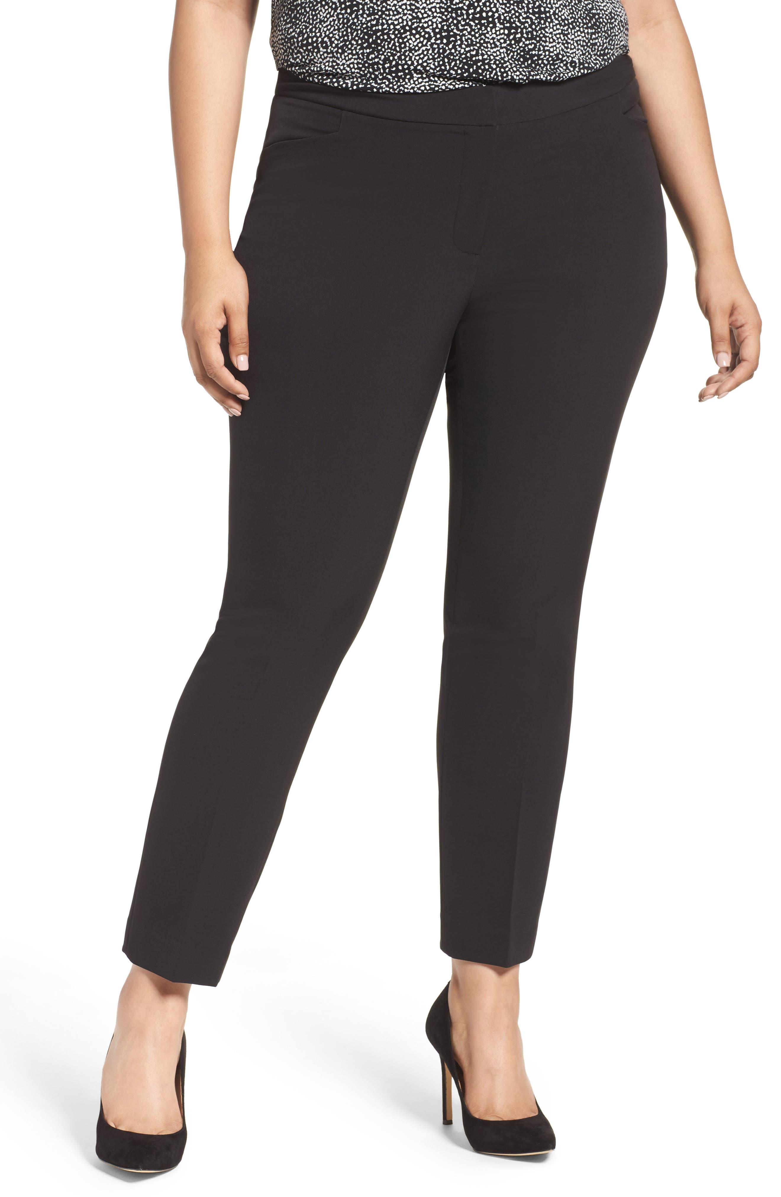 VINCE CAMUTO Ankle Pants, Main, color, RICH BLACK