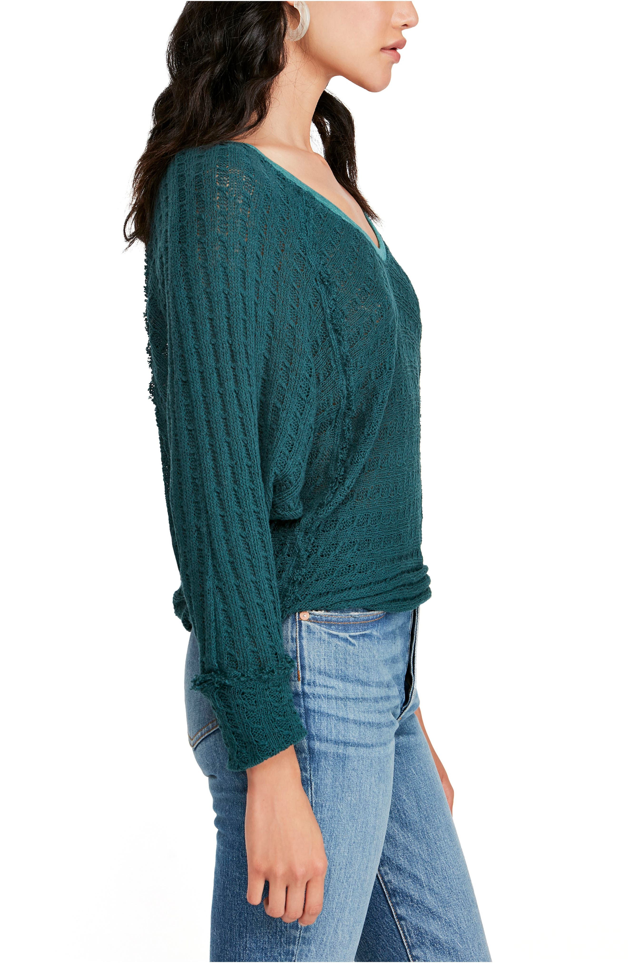 FREE PEOPLE, Thien's Hacci Top, Alternate thumbnail 3, color, TURQUOISE