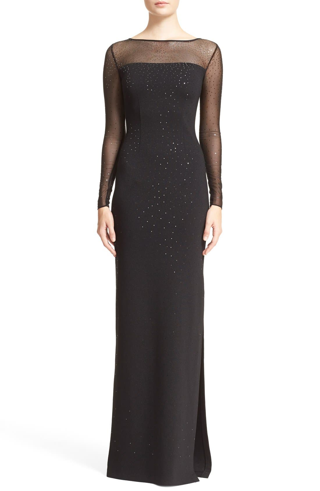 ST. JOHN COLLECTION, Embellished Shimmer Milano Knit Gown, Main thumbnail 1, color, 001