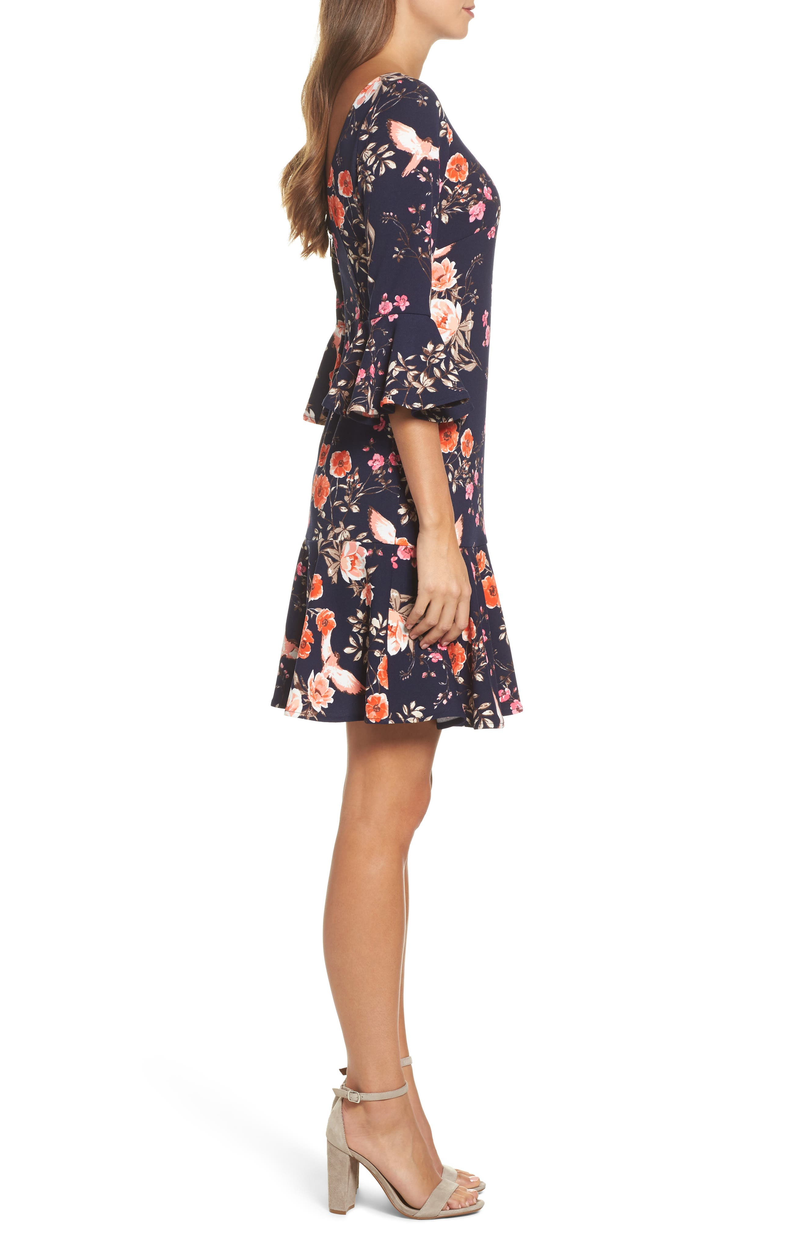 ELIZA J, Bell Sleeve Flounce Dress, Alternate thumbnail 3, color, NAVY
