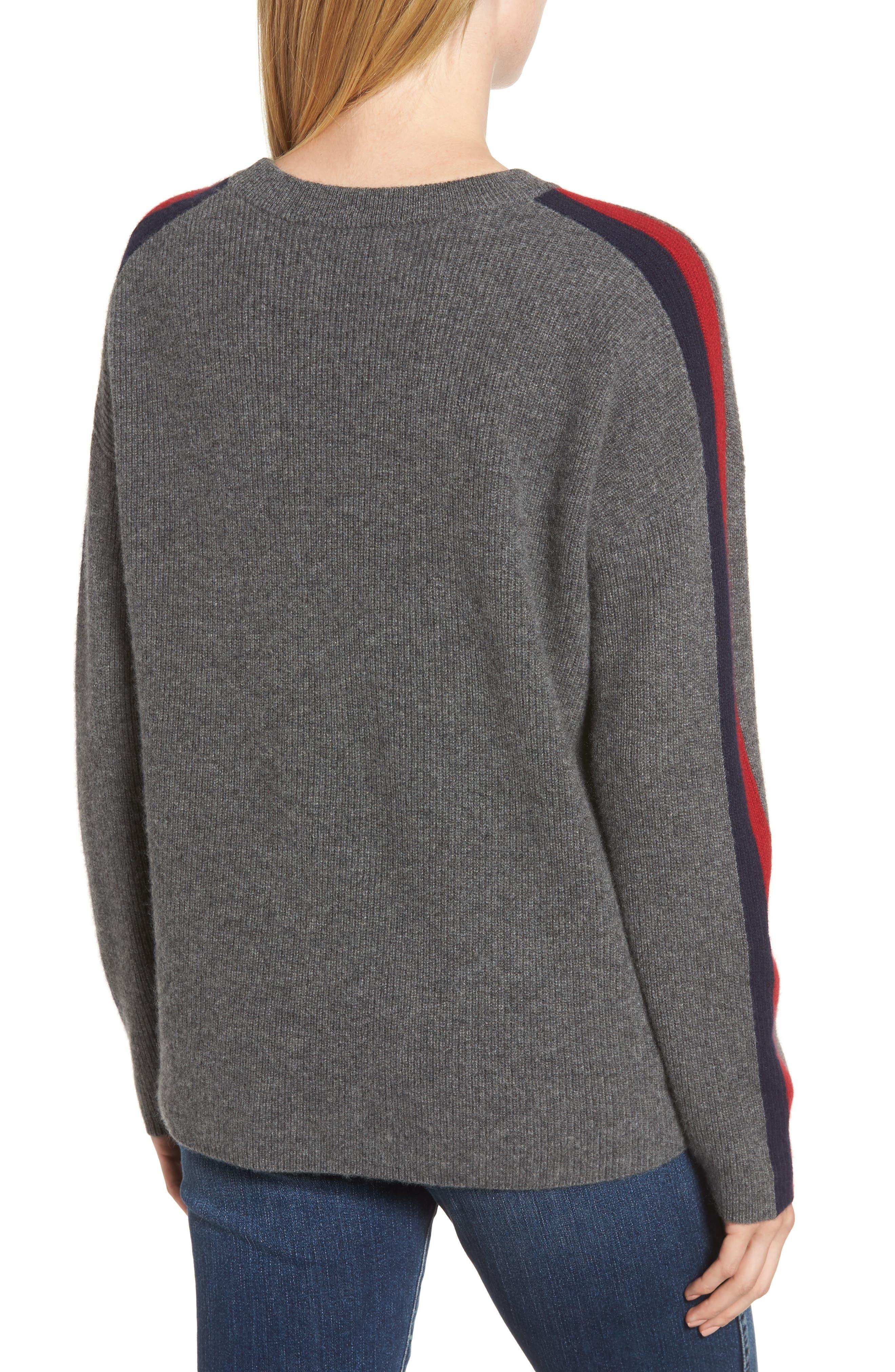 VELVET BY GRAHAM & SPENCER, Stripe Sleeve Cashmere Sweater, Alternate thumbnail 2, color, DARK GREY