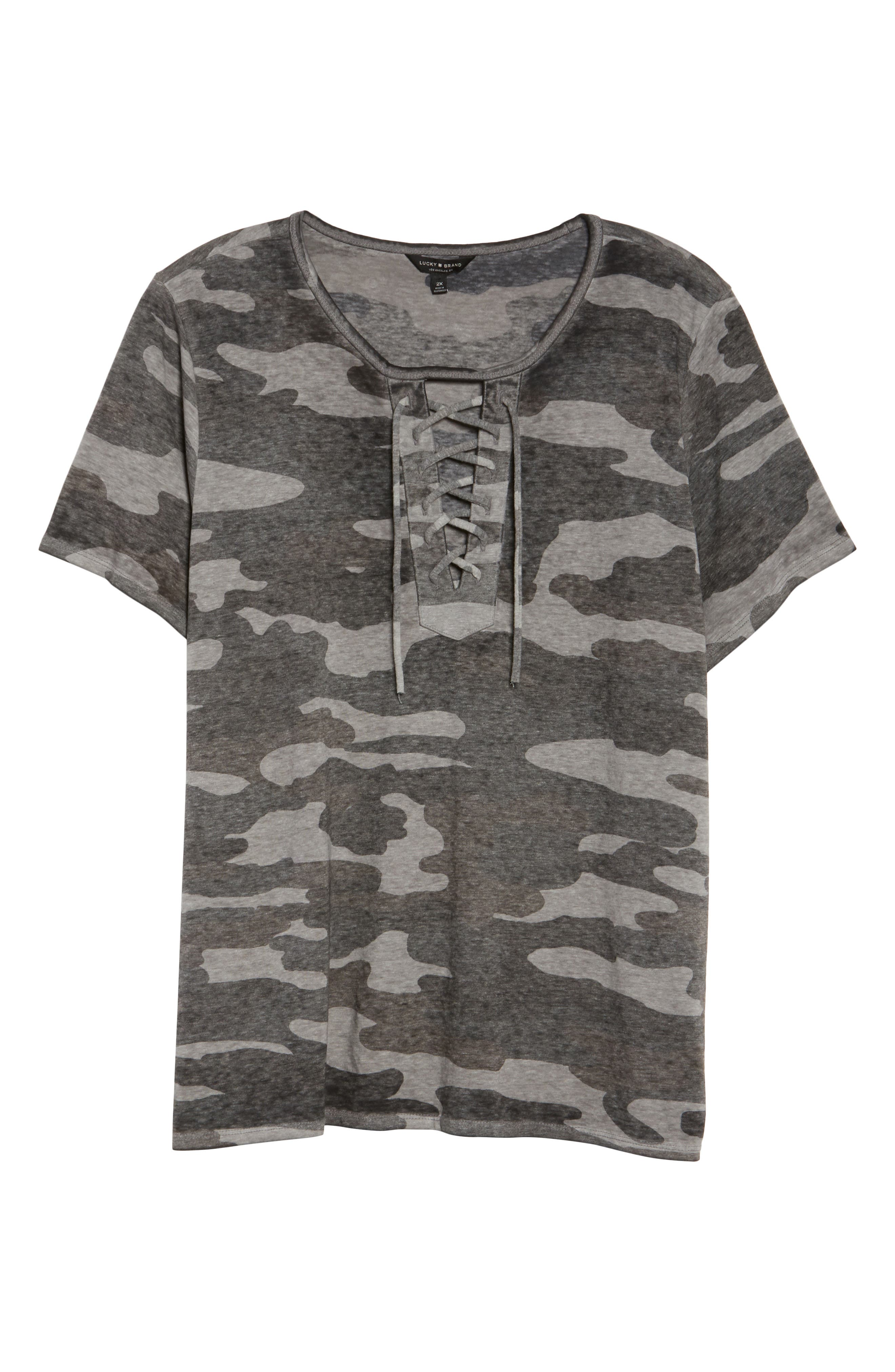 LUCKY BRAND, Lace-Up Camo Tee, Alternate thumbnail 6, color, GREY MULTI