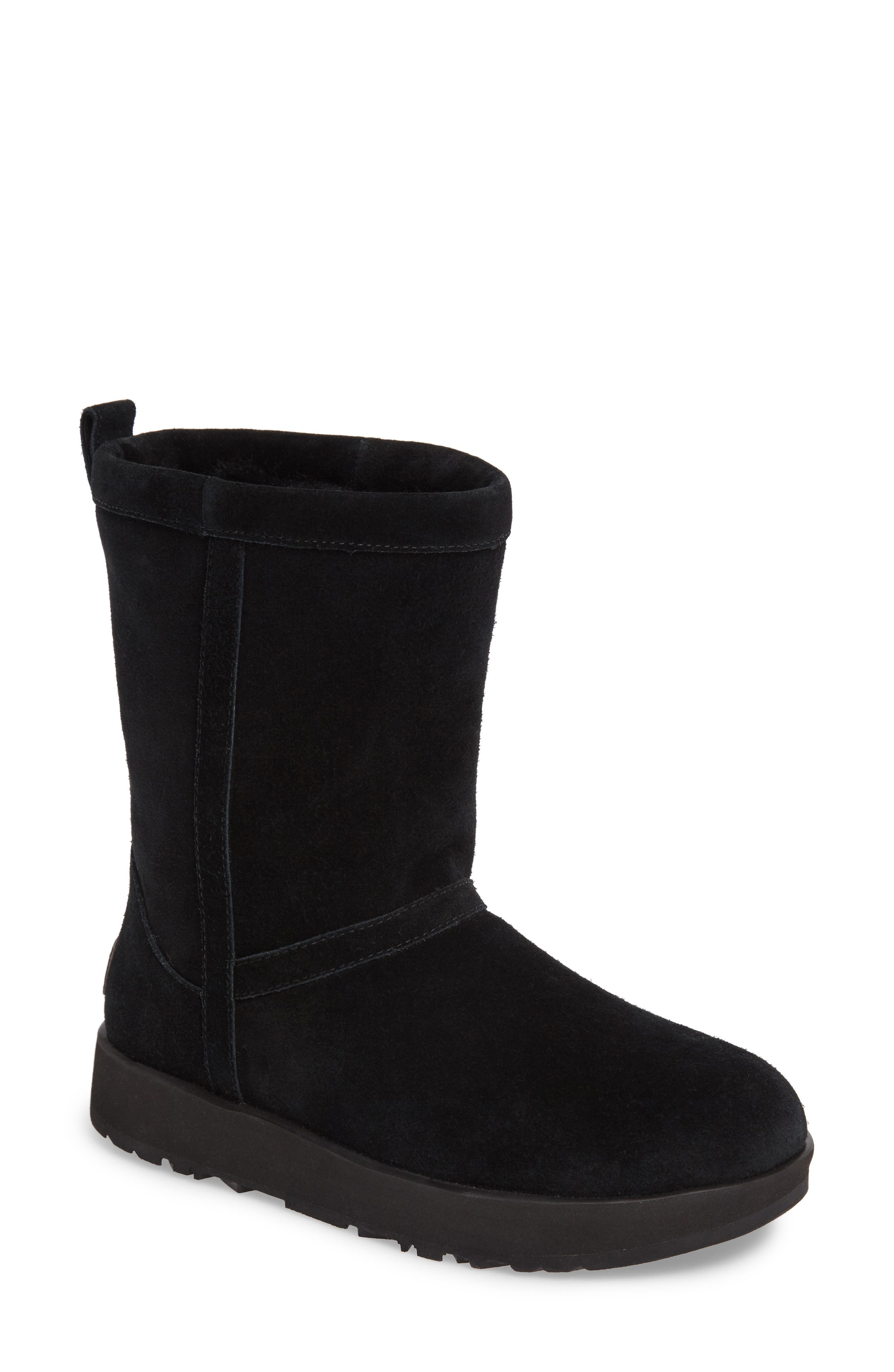 UGG<SUP>®</SUP>, Classic Short Waterproof Boot, Main thumbnail 1, color, BLACK SUEDE