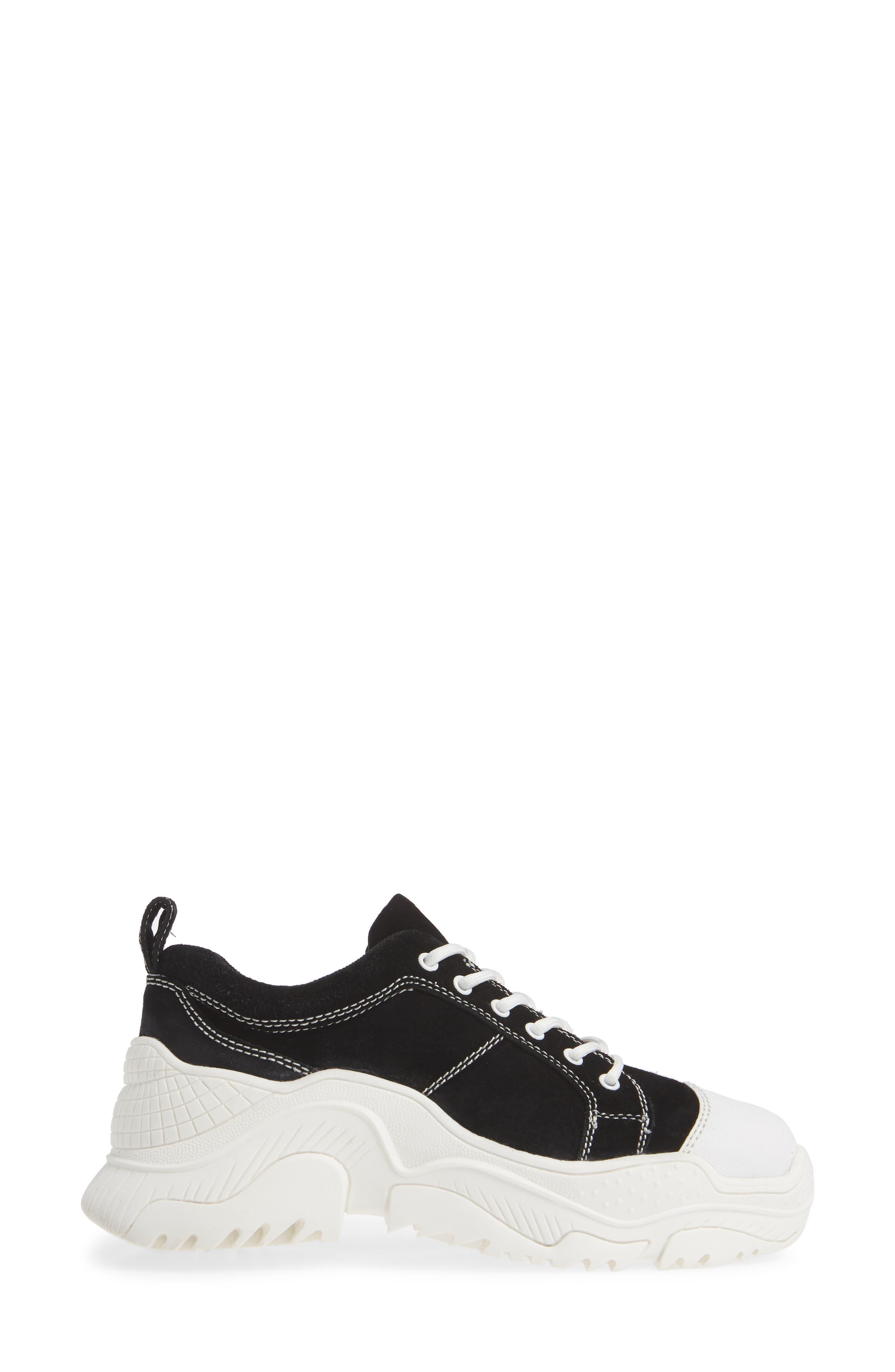 JEFFREY CAMPBELL, Remnant Sneaker, Alternate thumbnail 3, color, BLACK SUEDE WHITE