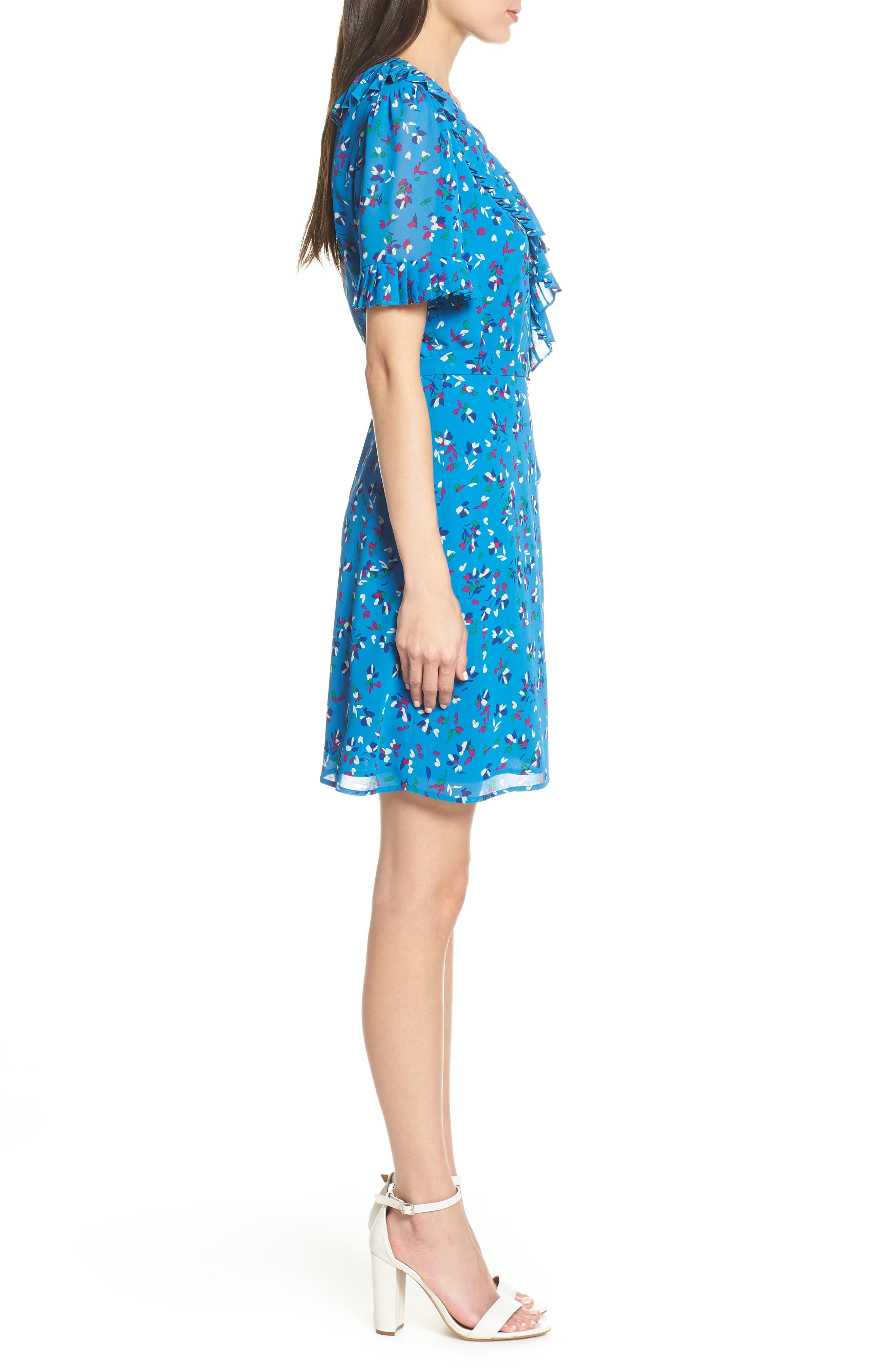 CHARLES HENRY, Pleat Neck Wrap Dress, Alternate thumbnail 5, color, BLUE FLORAL DITZY