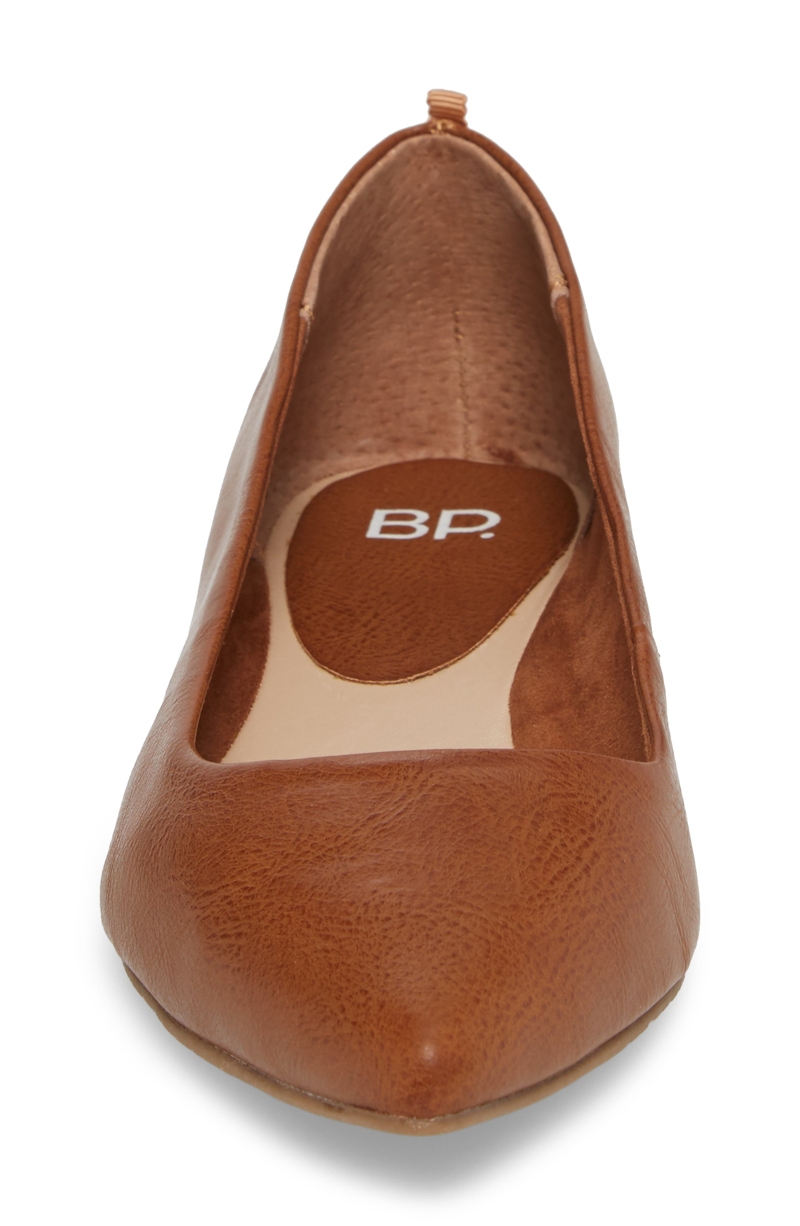 BP., Sasha Flat, Alternate thumbnail 4, color, COGNAC SMOOTH FAUX LEATHER
