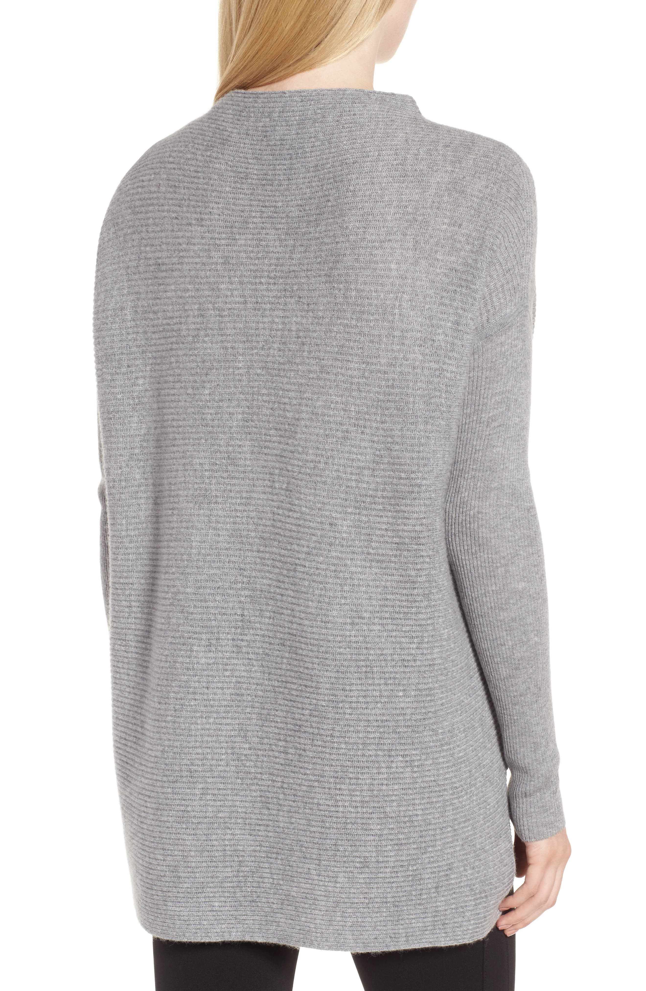 NORDSTROM SIGNATURE, Cashmere Asymmetrical Pullover, Alternate thumbnail 2, color, GREY FILIGREE HEATHER
