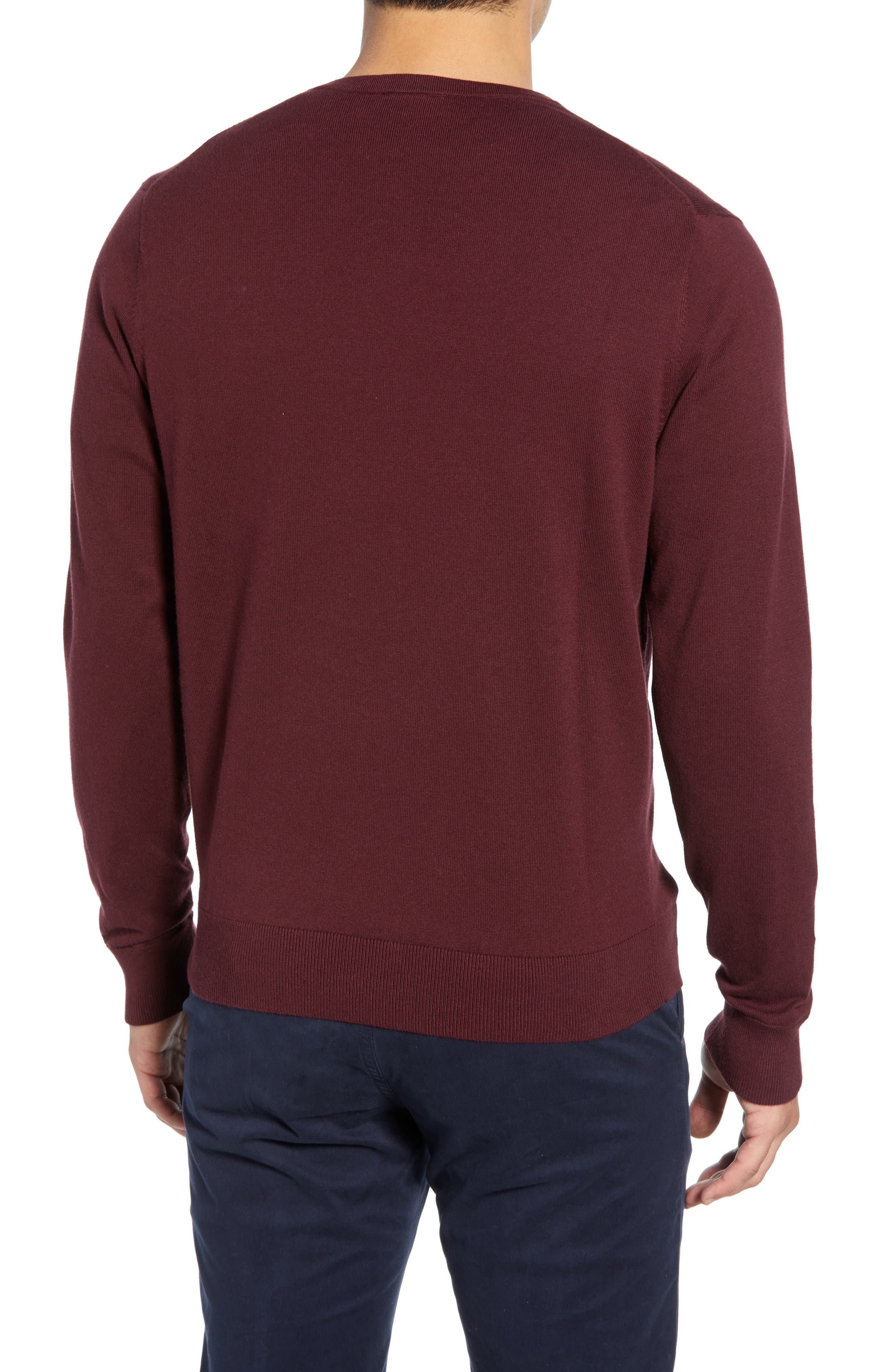 CUTTER & BUCK, Lakemont V-Neck Sweater, Alternate thumbnail 2, color, BORDEAUX