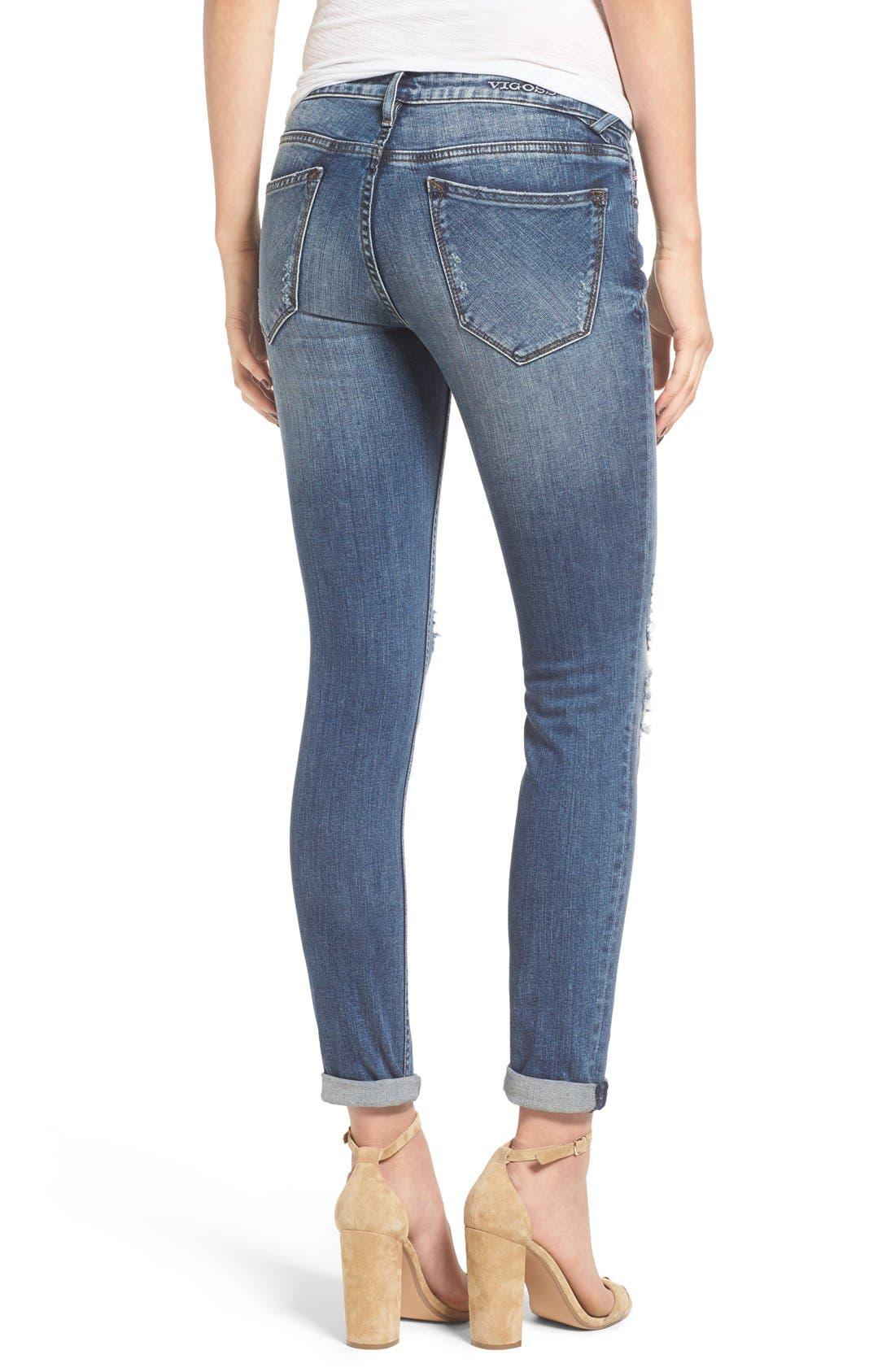 VIGOSS, 'Thompson Tomboy' Ripped Boyfriend Jeans, Alternate thumbnail 3, color, 400