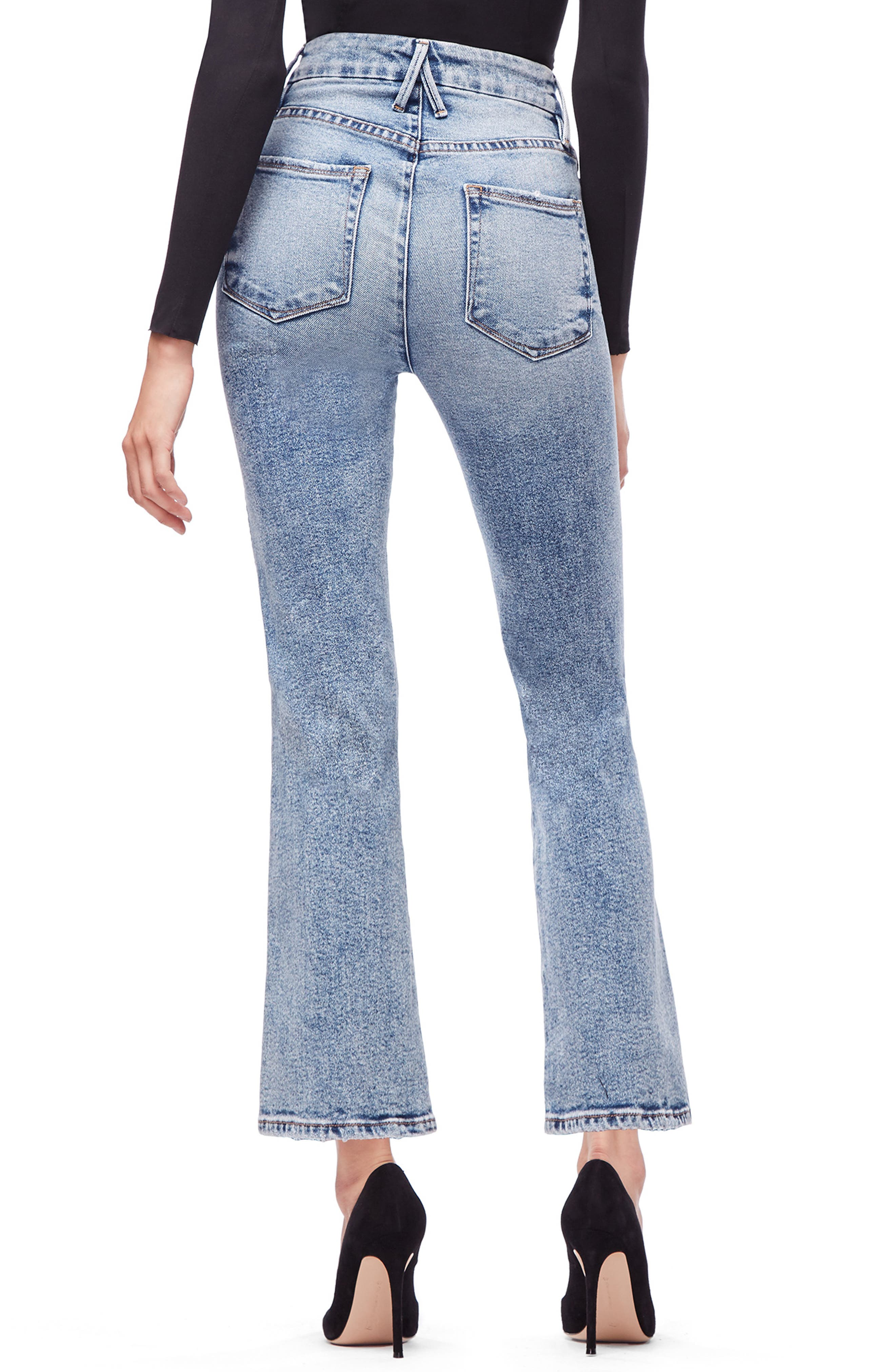 GOOD AMERICAN, Good Curve High Waist Ankle Straight Leg Jeans, Alternate thumbnail 4, color, 401