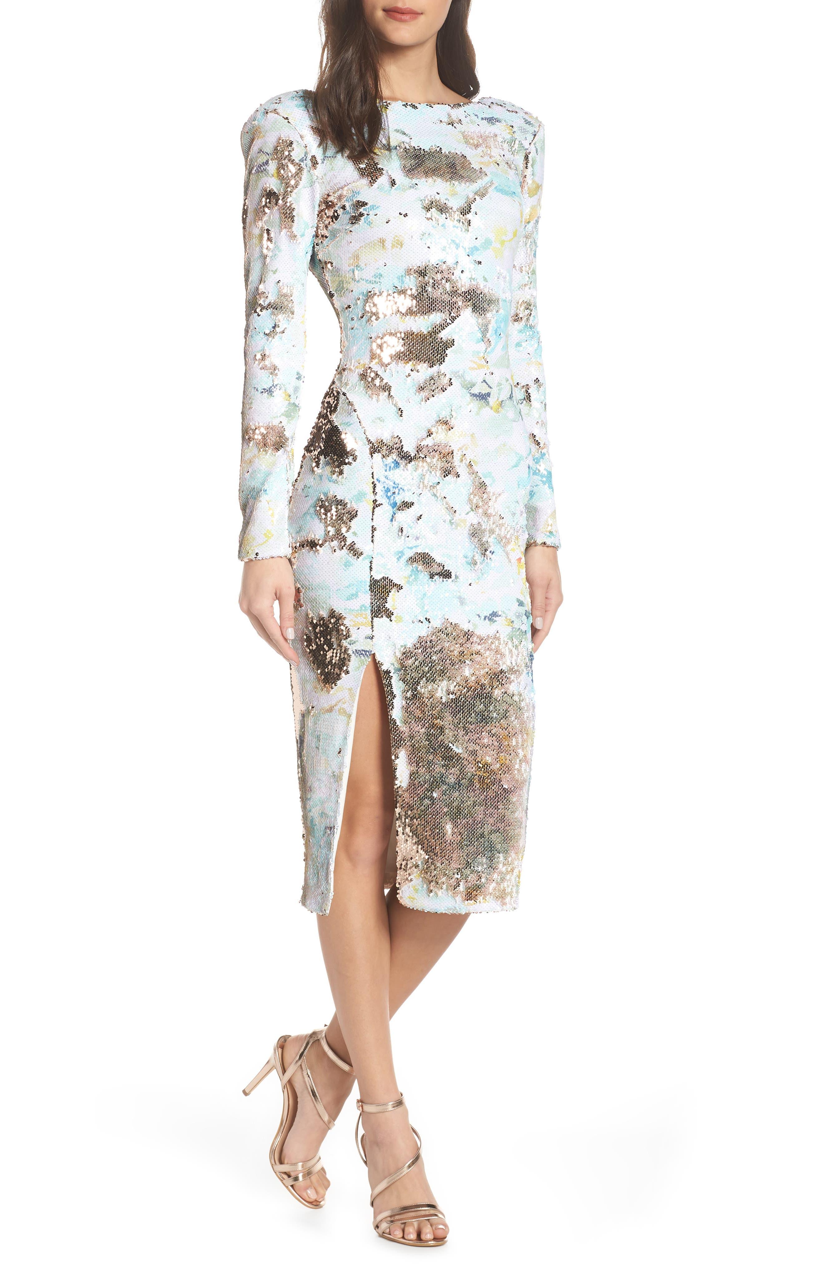 DRESS THE POPULATION, Natalie Scoop Back Sequin Dress, Alternate thumbnail 7, color, IVORY/ SAGE/ GOLD