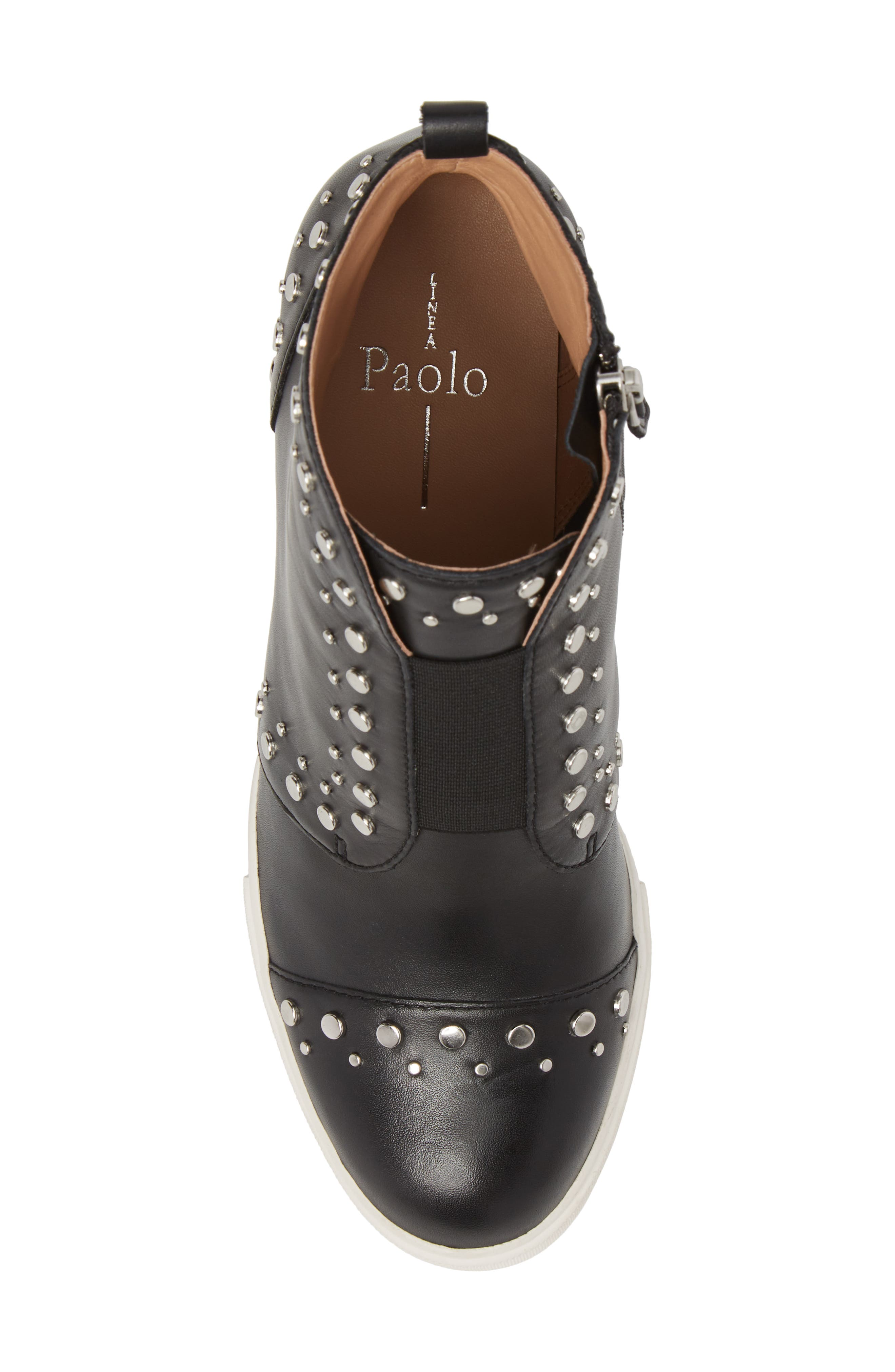 LINEA PAOLO, Felicity Wedge Sneaker, Alternate thumbnail 5, color, BLACK LEATHER