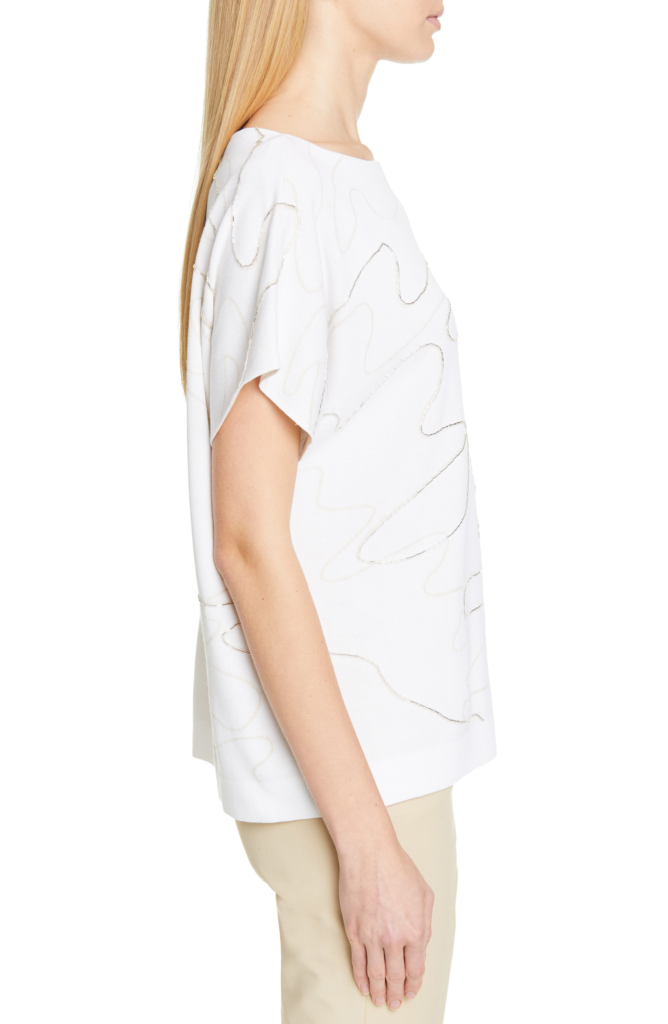 LAFAYETTE 148 NEW YORK, Beaded Double Jacquard Sweater, Alternate thumbnail 3, color, WHITE/ RAFFIA
