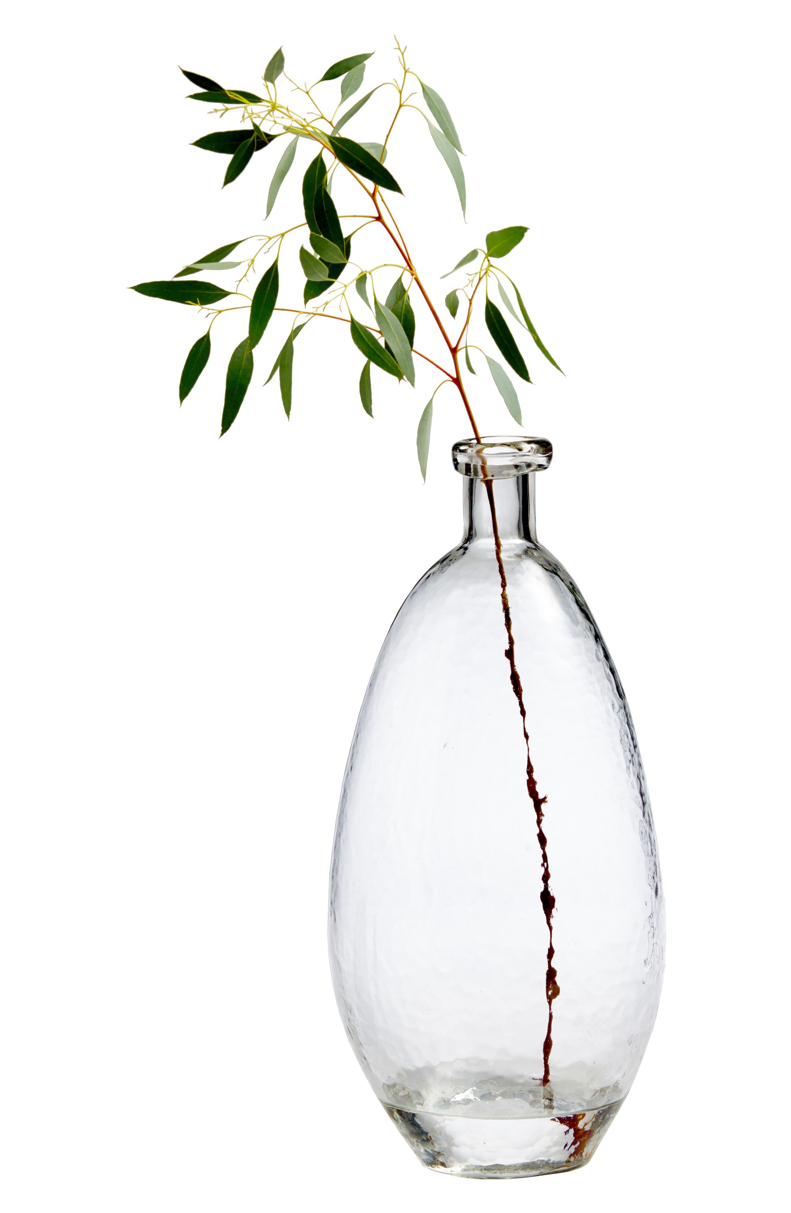 TREASURE & BOND, Tall Teardrop Glass Bottle Vase, Alternate thumbnail 3, color, CLEAR