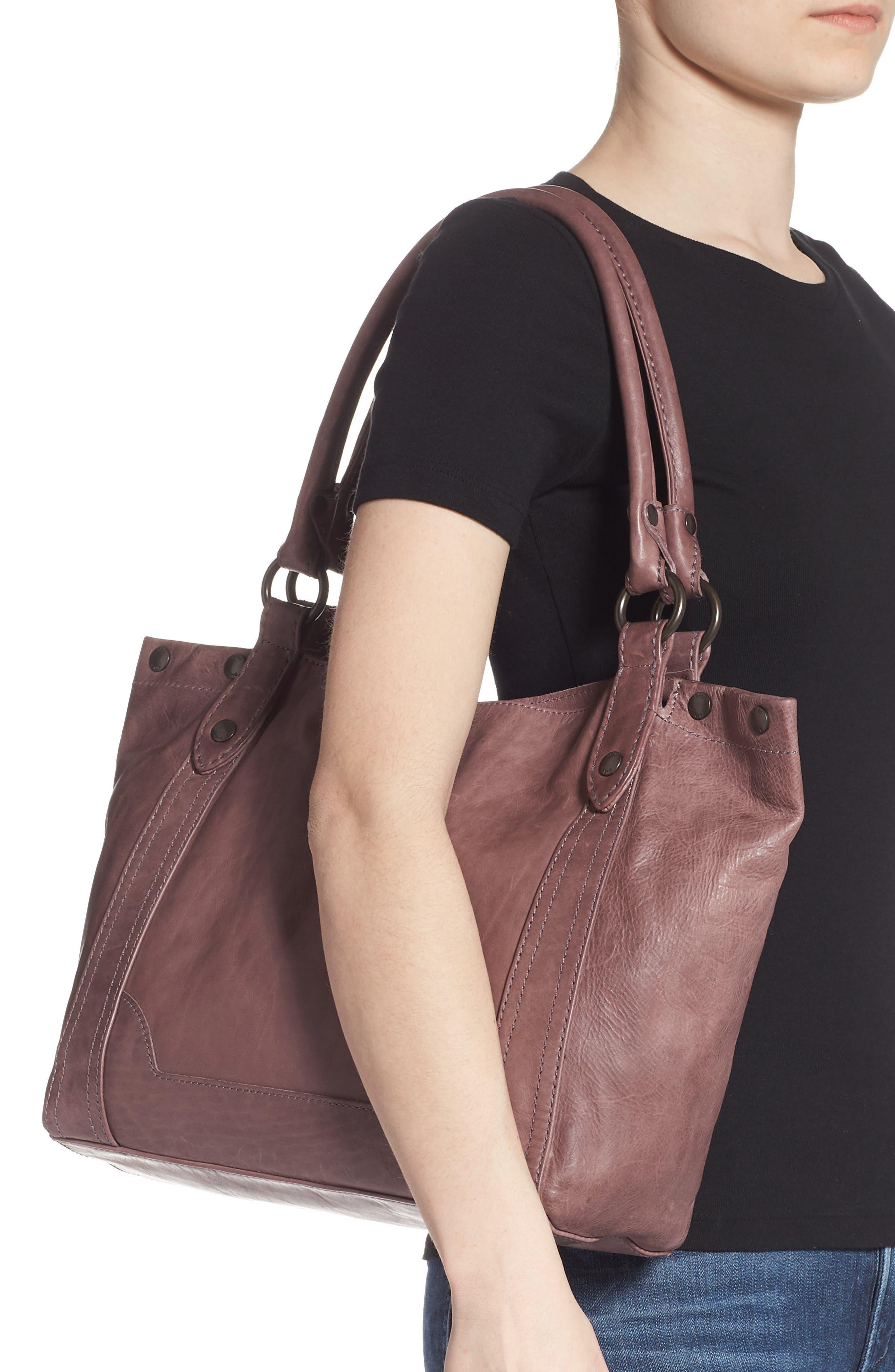 FRYE, Melissa Leather Shoulder Bag, Alternate thumbnail 2, color, LILAC
