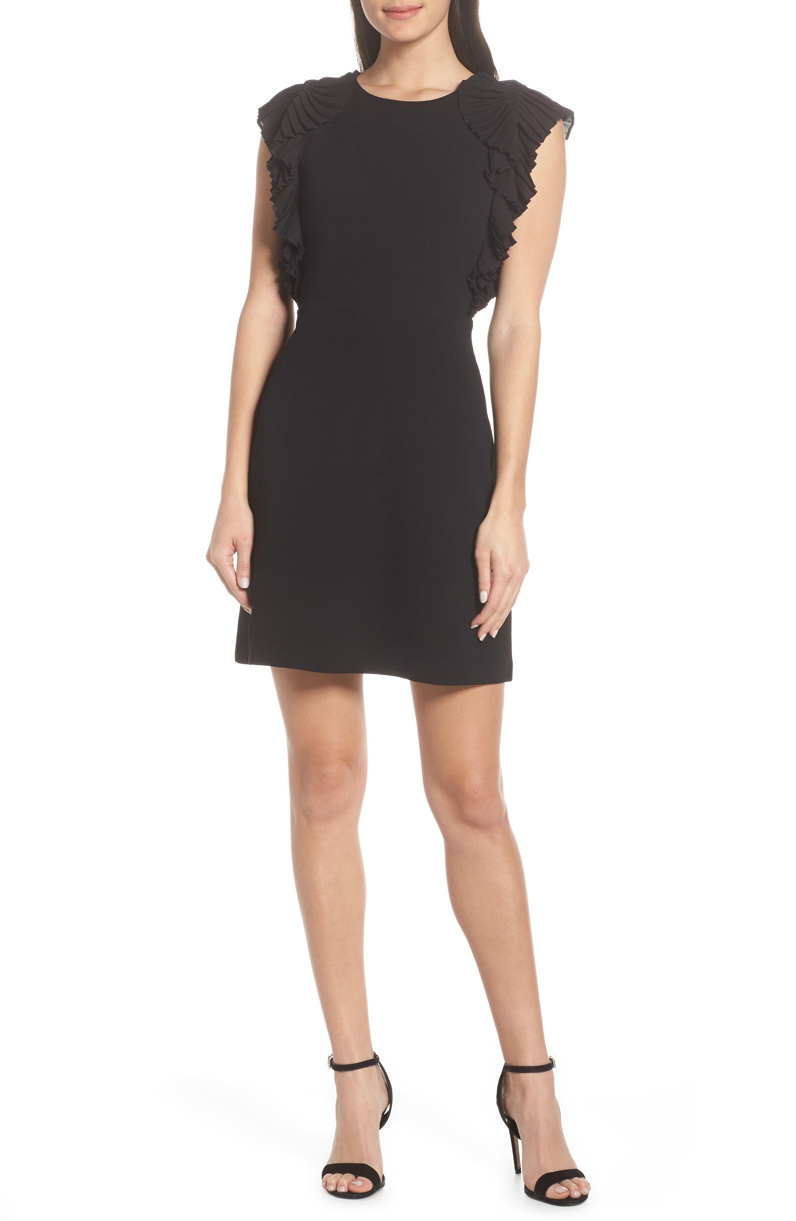 Petite Chelsea28 Pleat Shoulder Sheath Dress, Black