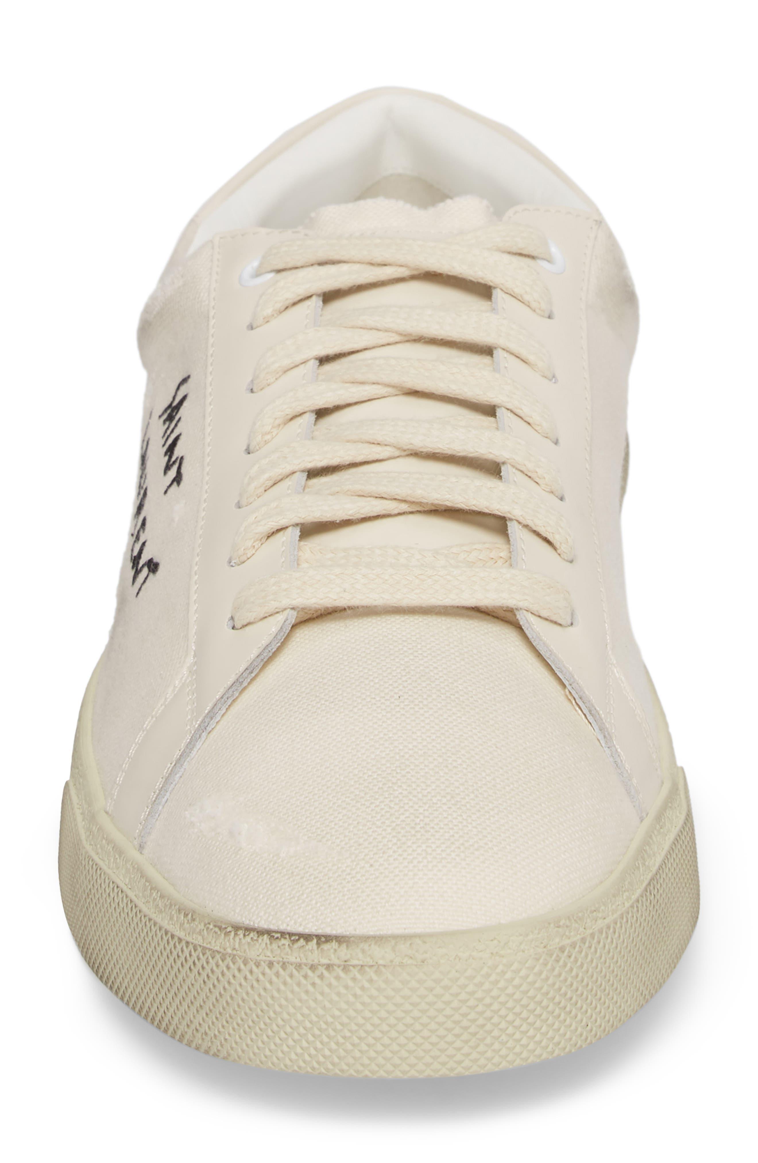 SAINT LAURENT, Logo Embroidered Sneaker, Alternate thumbnail 4, color, 9113 PANNA/PANNA