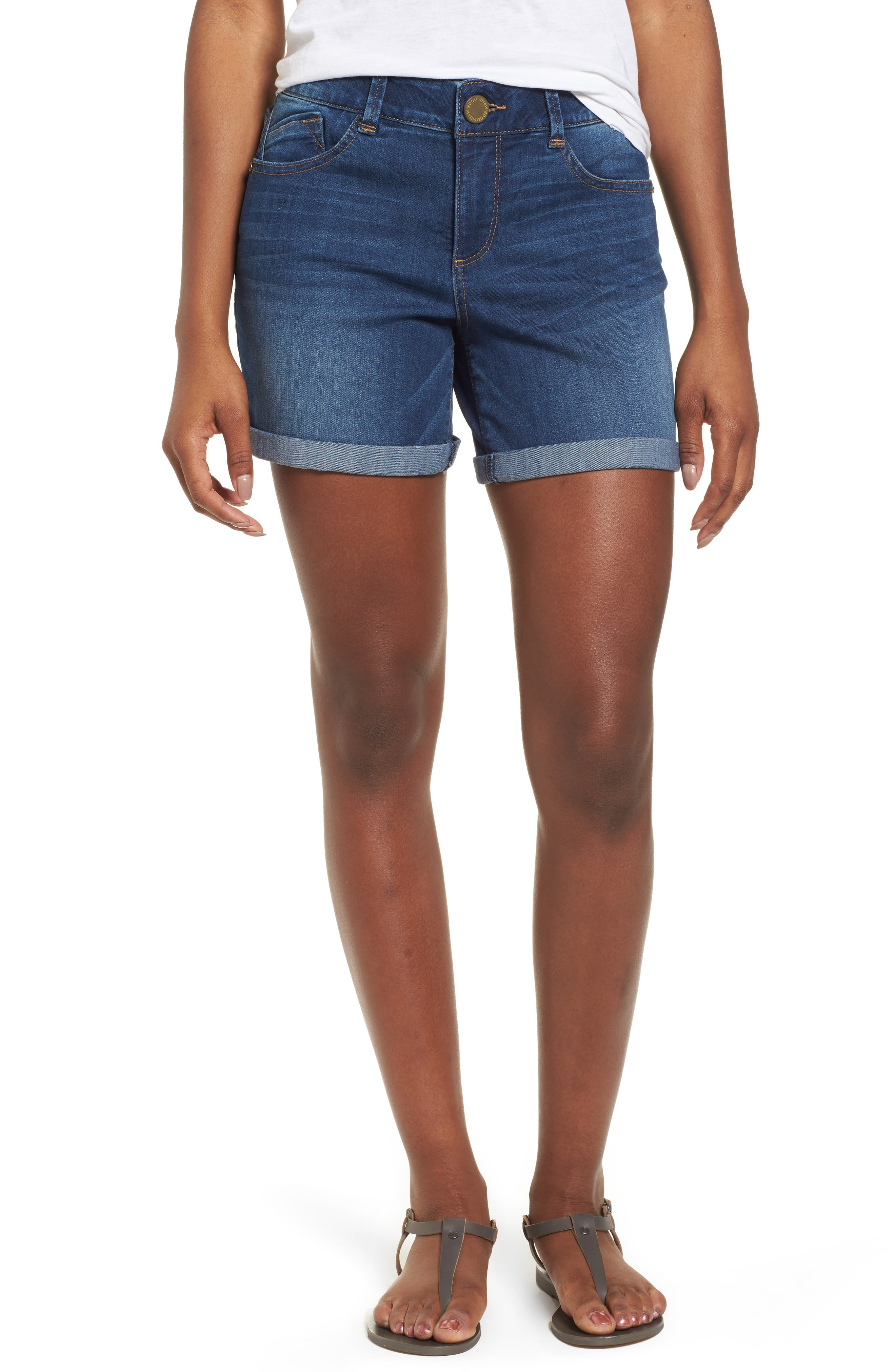WIT & WISDOM, Ab-solution Cuffed Denim Shorts, Main thumbnail 1, color, BLUE