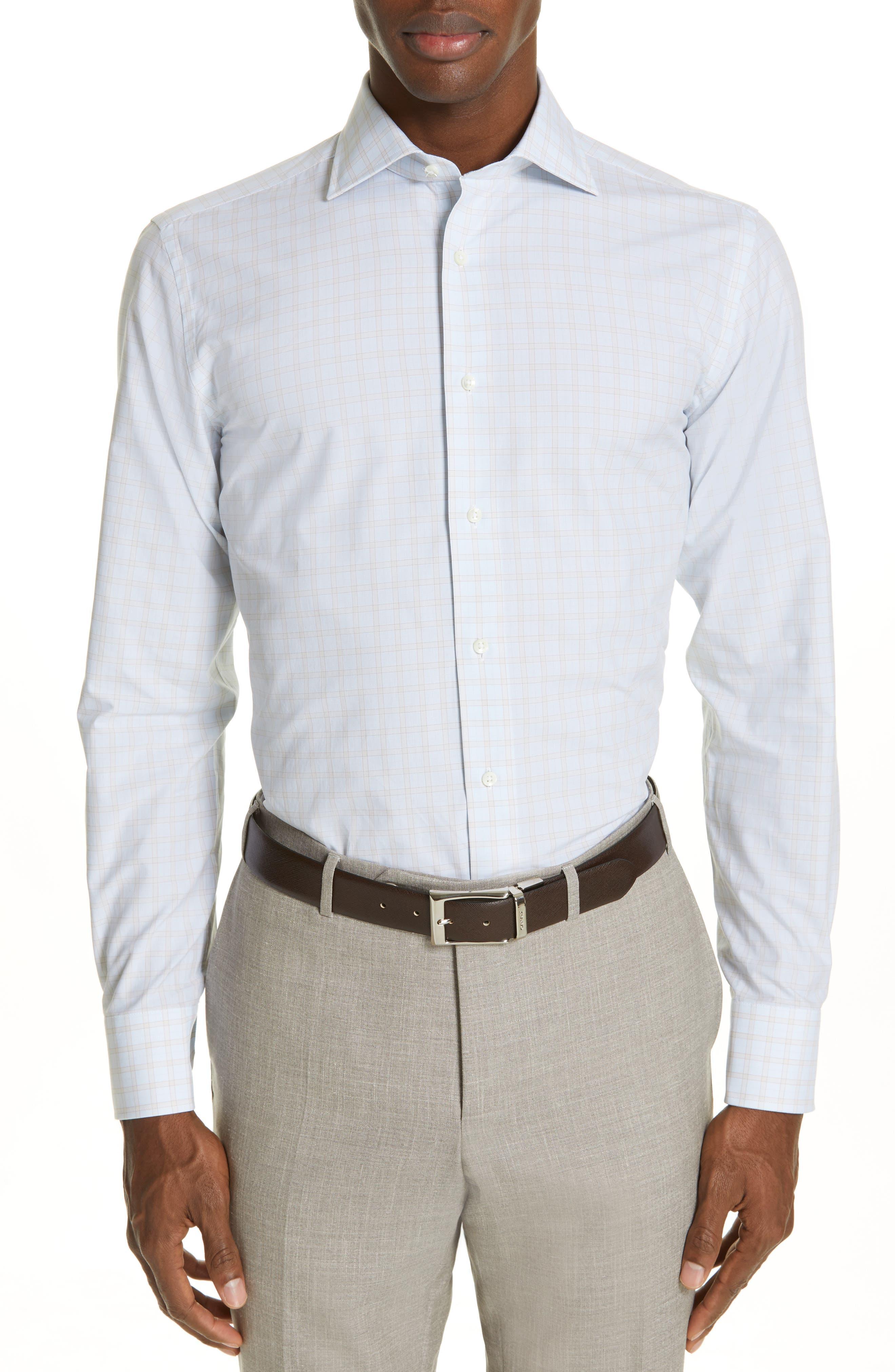 CANALI, Regular Fit Plaid Dress Shirt, Main thumbnail 1, color, BEIGE