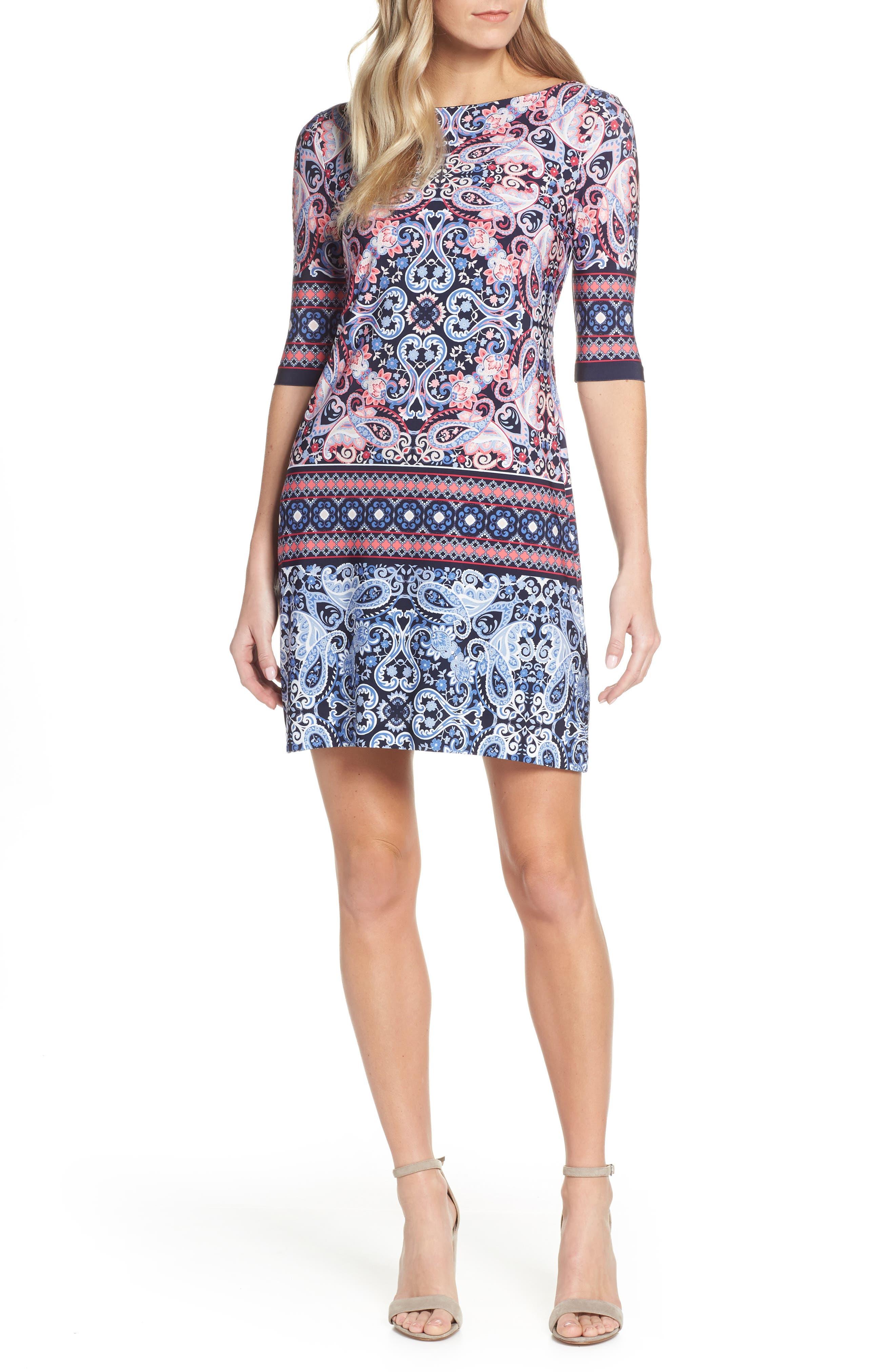 ELIZA J Paisley Shift Dress, Main, color, NAVY