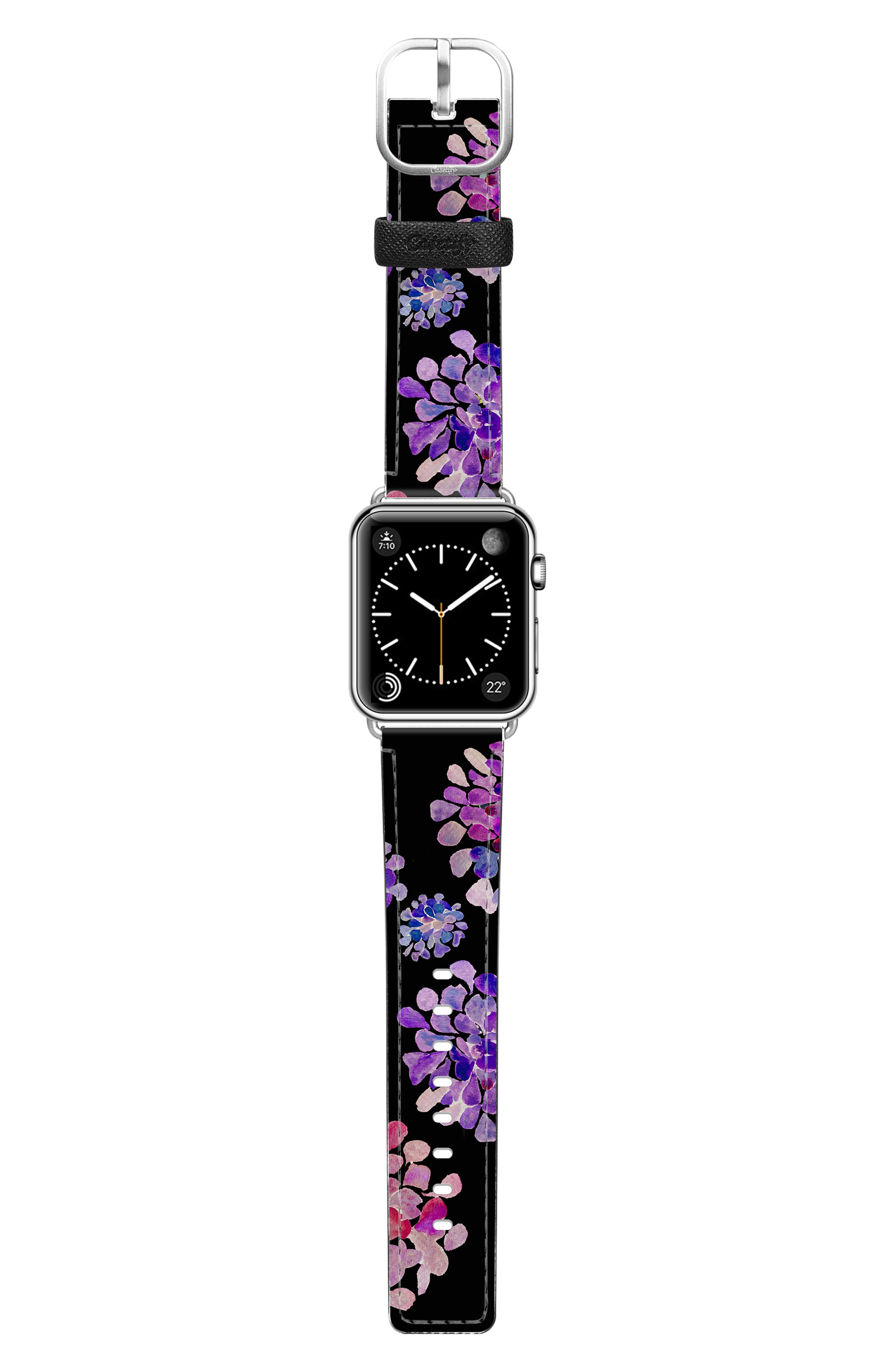 CASETIFY, Saffiano Purple Flowers Faux Leather Apple Watch Strap, Alternate thumbnail 3, color, BLACK/ SILVER