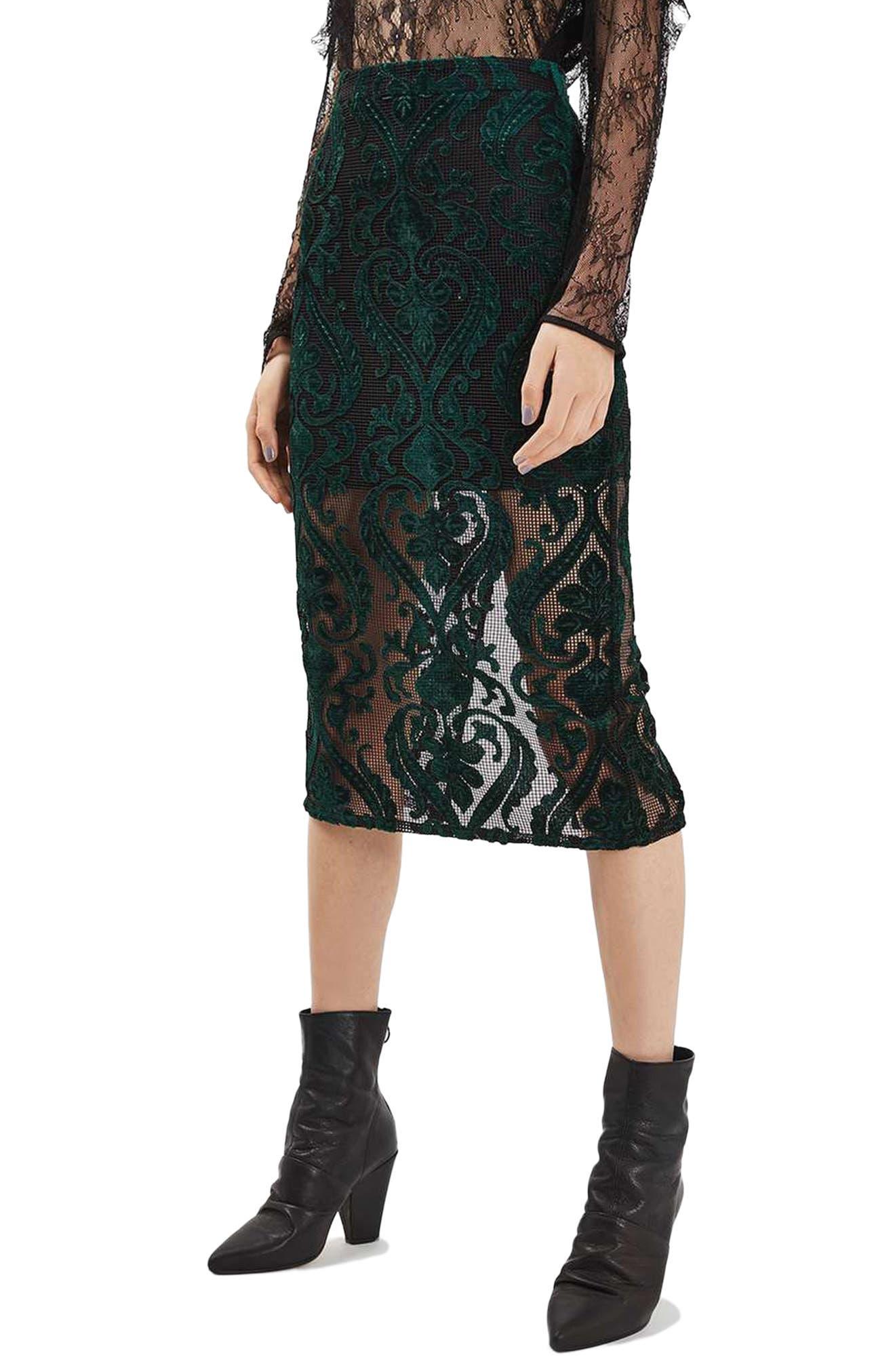 TOPSHOP Velvet Mesh Pencil Skirt, Main, color, 301