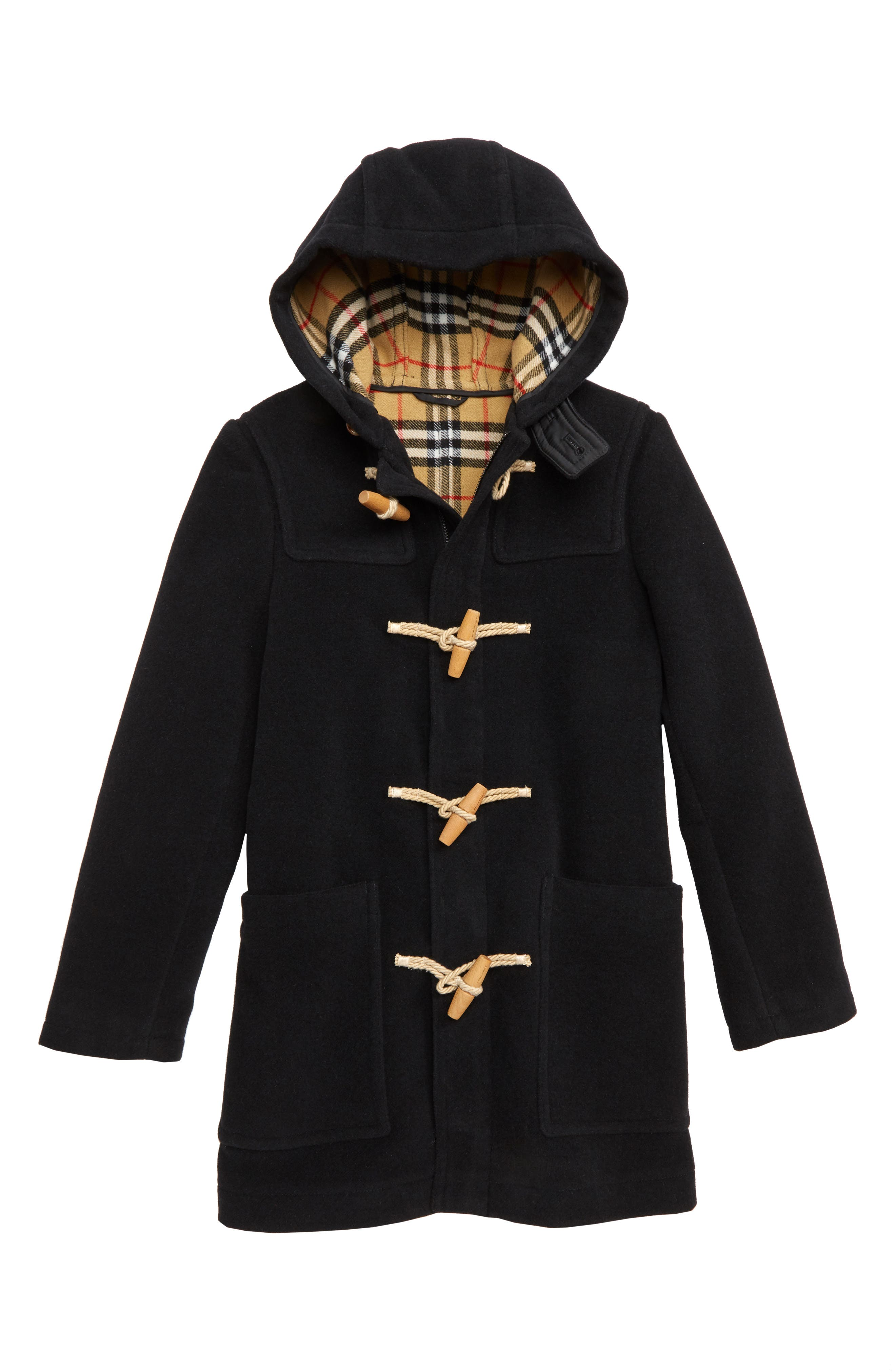 BURBERRY, Burford Double-Face Wool Duffel Coat, Main thumbnail 1, color, 001