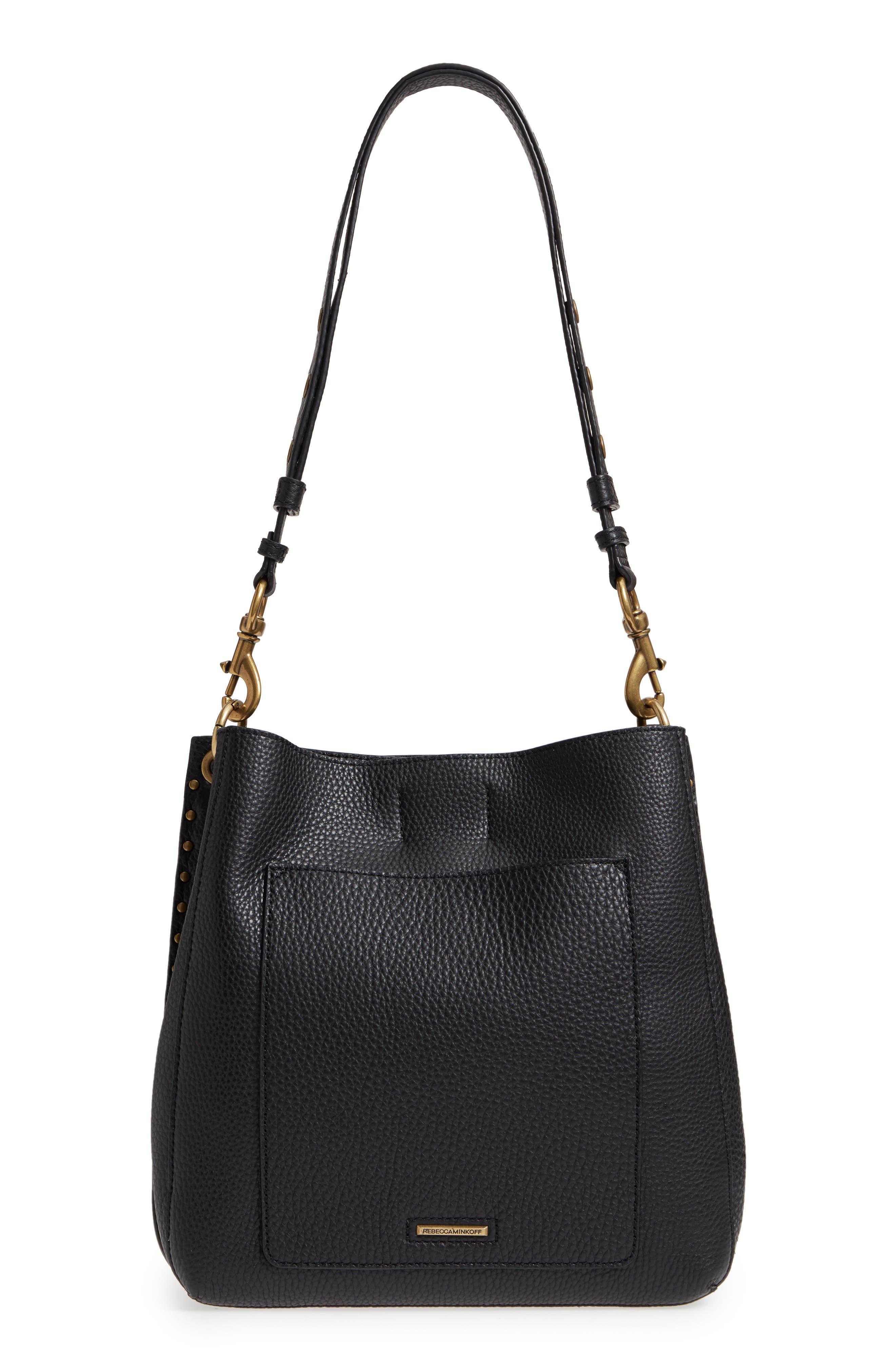 REBECCA MINKOFF, Darren Deerskin Leather Shoulder Bag, Alternate thumbnail 4, color, BLACK