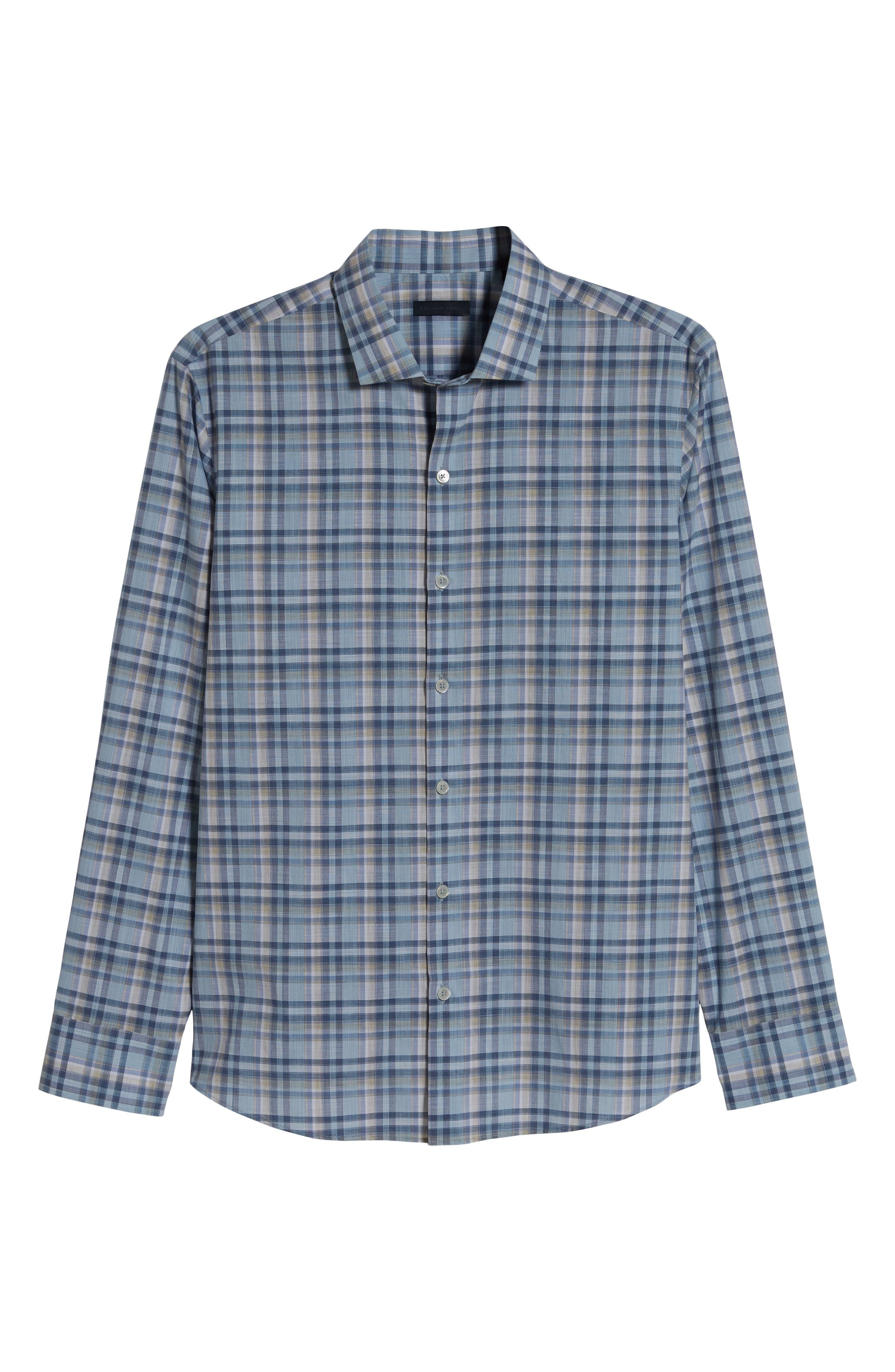 ZACHARY PRELL, Anthony Regular Fit Plaid Sport Shirt, Alternate thumbnail 5, color, LT BLUE