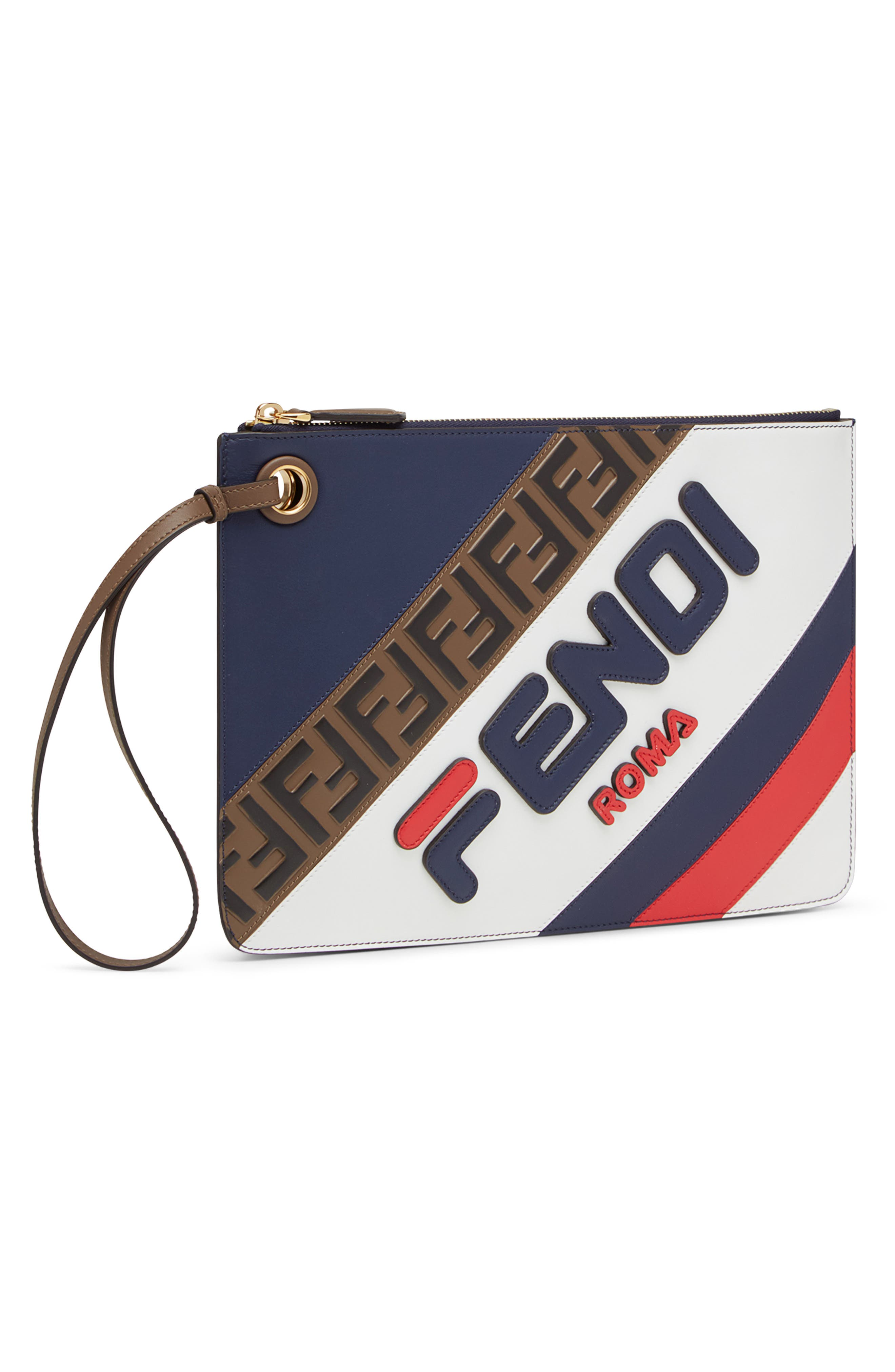 FENDI, x FILA Medium Mania Logo Leather Clutch, Alternate thumbnail 4, color, BLUE/ BERRY MULTI