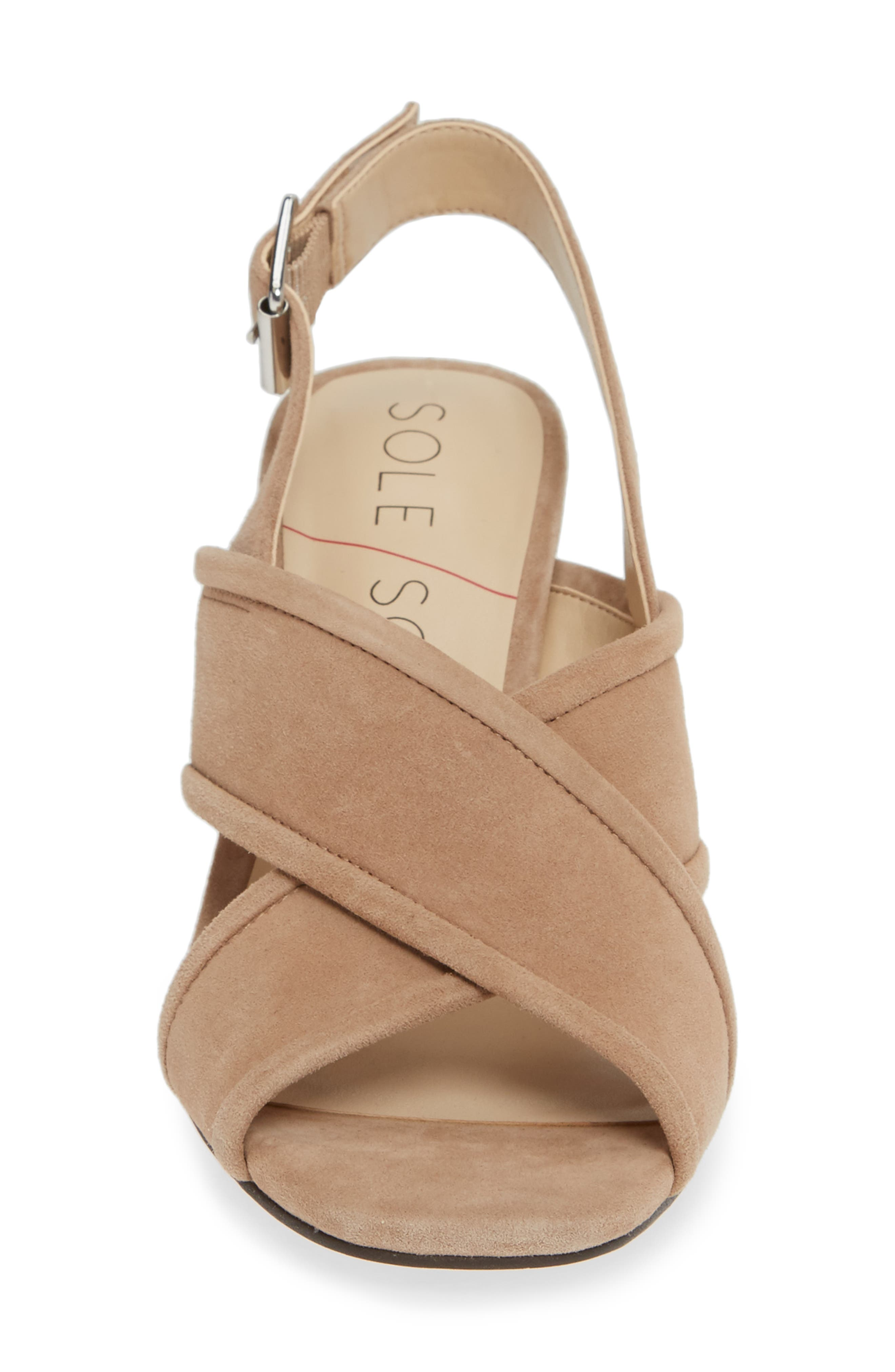 SOLE SOCIETY, Joree Slingback Sandal, Alternate thumbnail 4, color, DUSTED TAUPE SUEDE