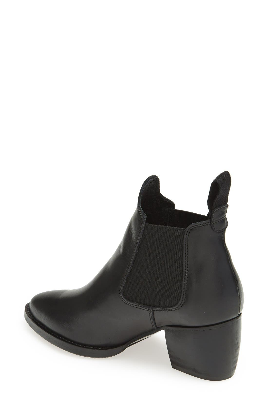TOPSHOP, 'Margot' Leather Ankle Bootie, Alternate thumbnail 2, color, 001