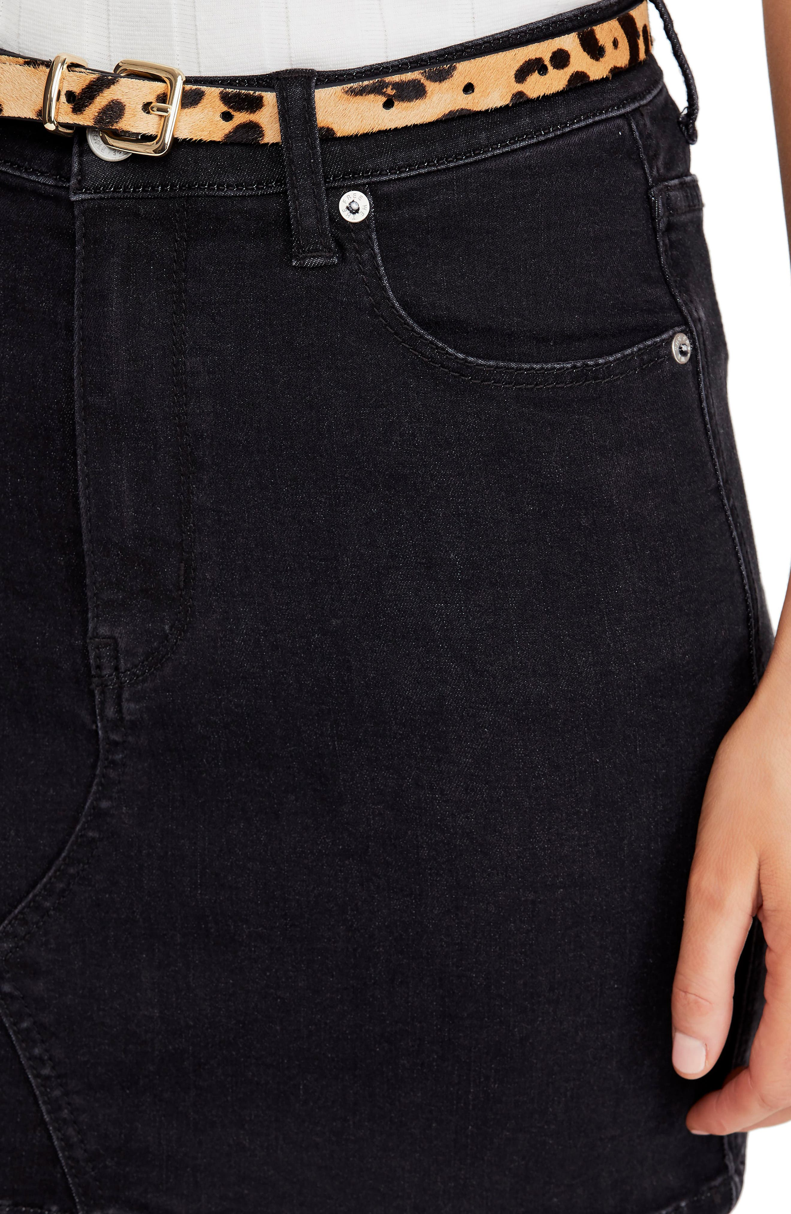 FREE PEOPLE, Teagan Denim Miniskirt, Alternate thumbnail 5, color, BLACK