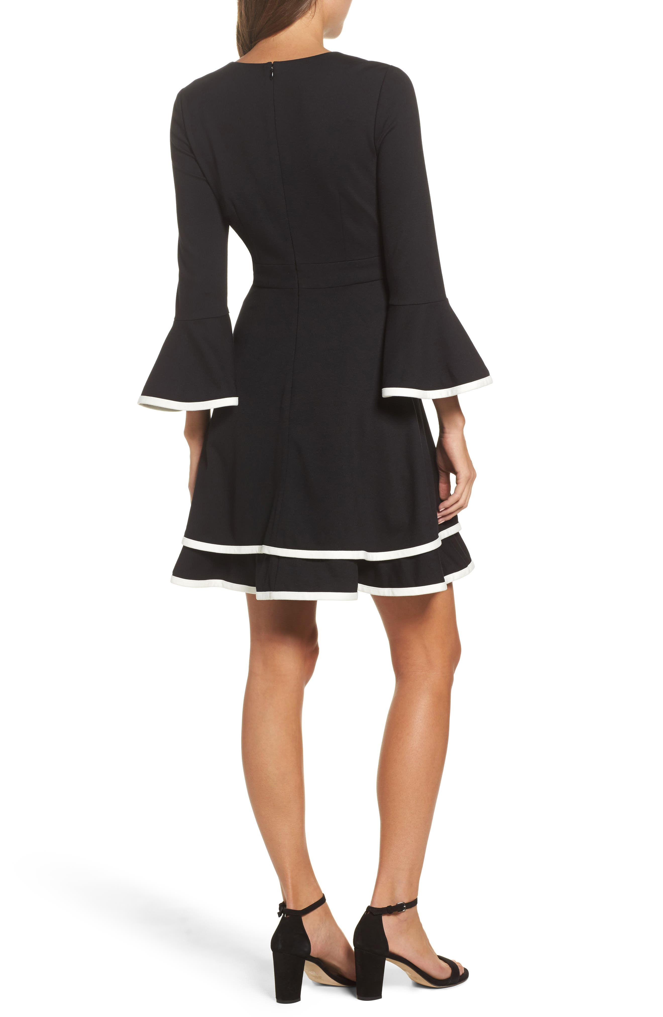 ELIZA J, Bell Sleeve Fit & Flare Dress, Alternate thumbnail 2, color, 006