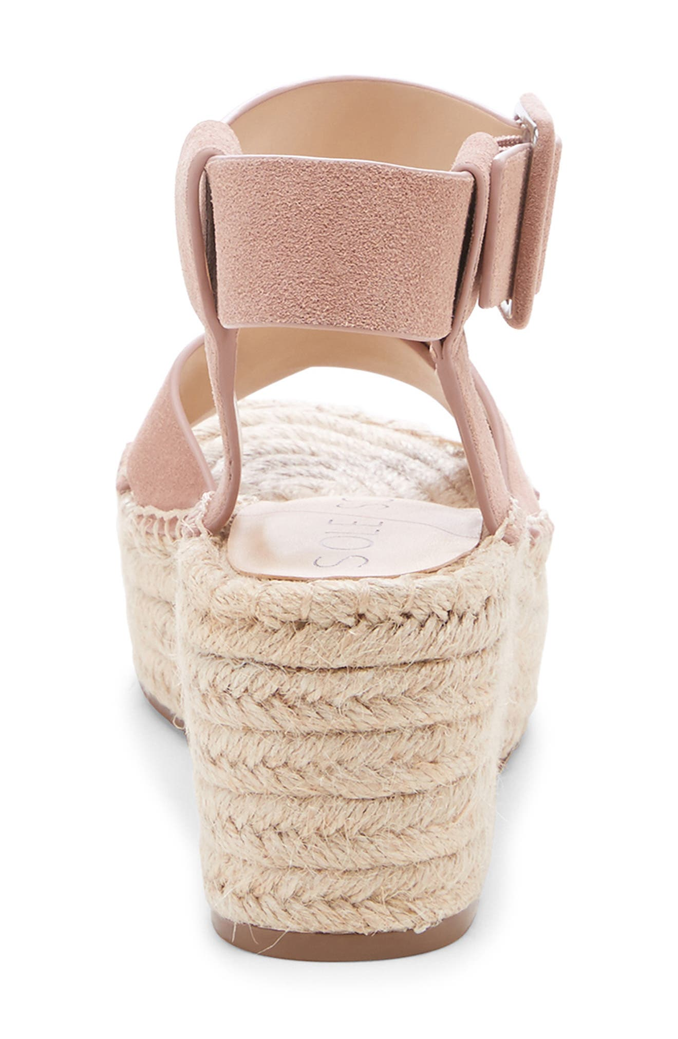 SOLE SOCIETY, Audrina Platform Espadrille Sandal, Alternate thumbnail 7, color, DUSTY ROSE SUEDE