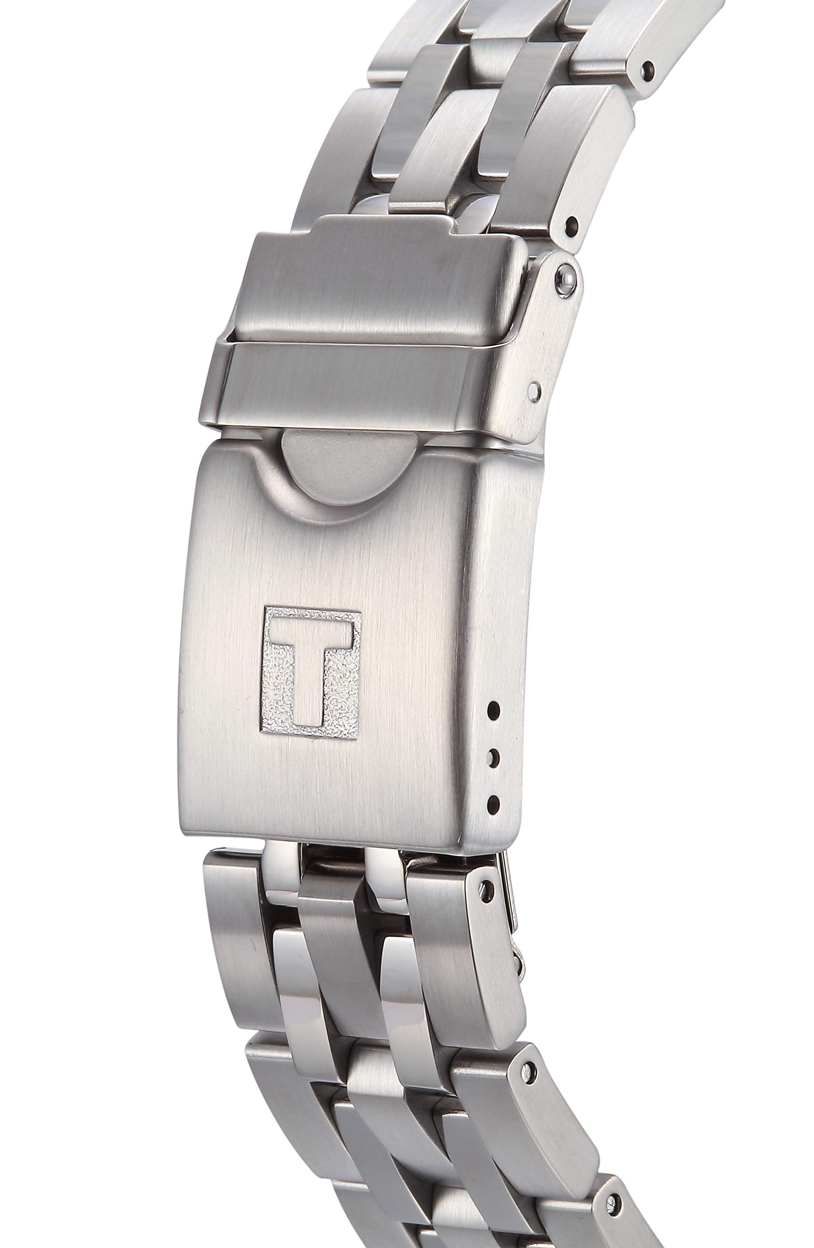 TISSOT, PRC200 Chronograph Bracelet Watch, 42mm, Alternate thumbnail 4, color, SILVER/ BLACK/ SILVER
