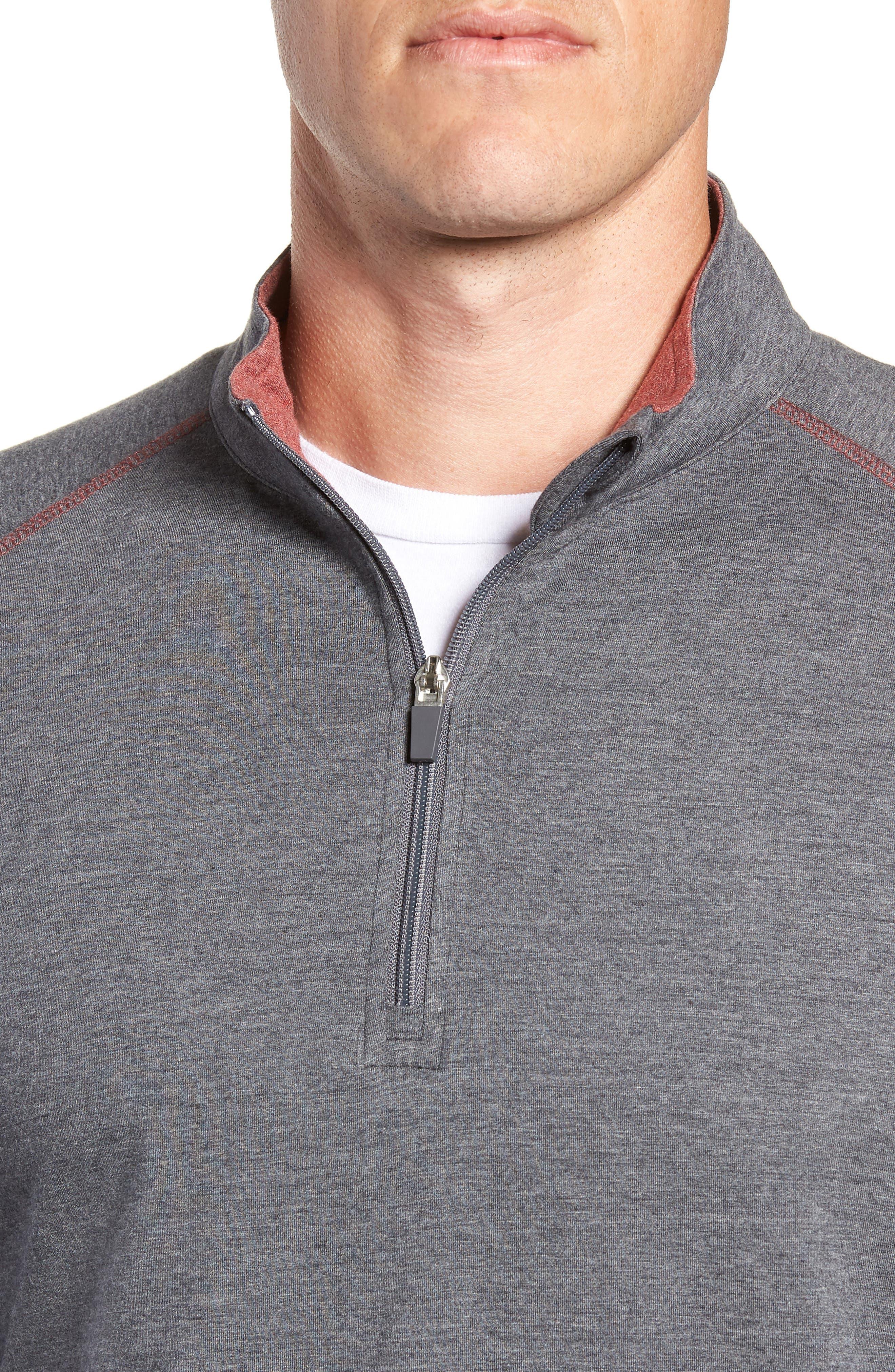 TASC PERFORMANCE, Carrollton Quarter Zip Sweatshirt, Alternate thumbnail 4, color, BLACK HEATHER/ MERCURY