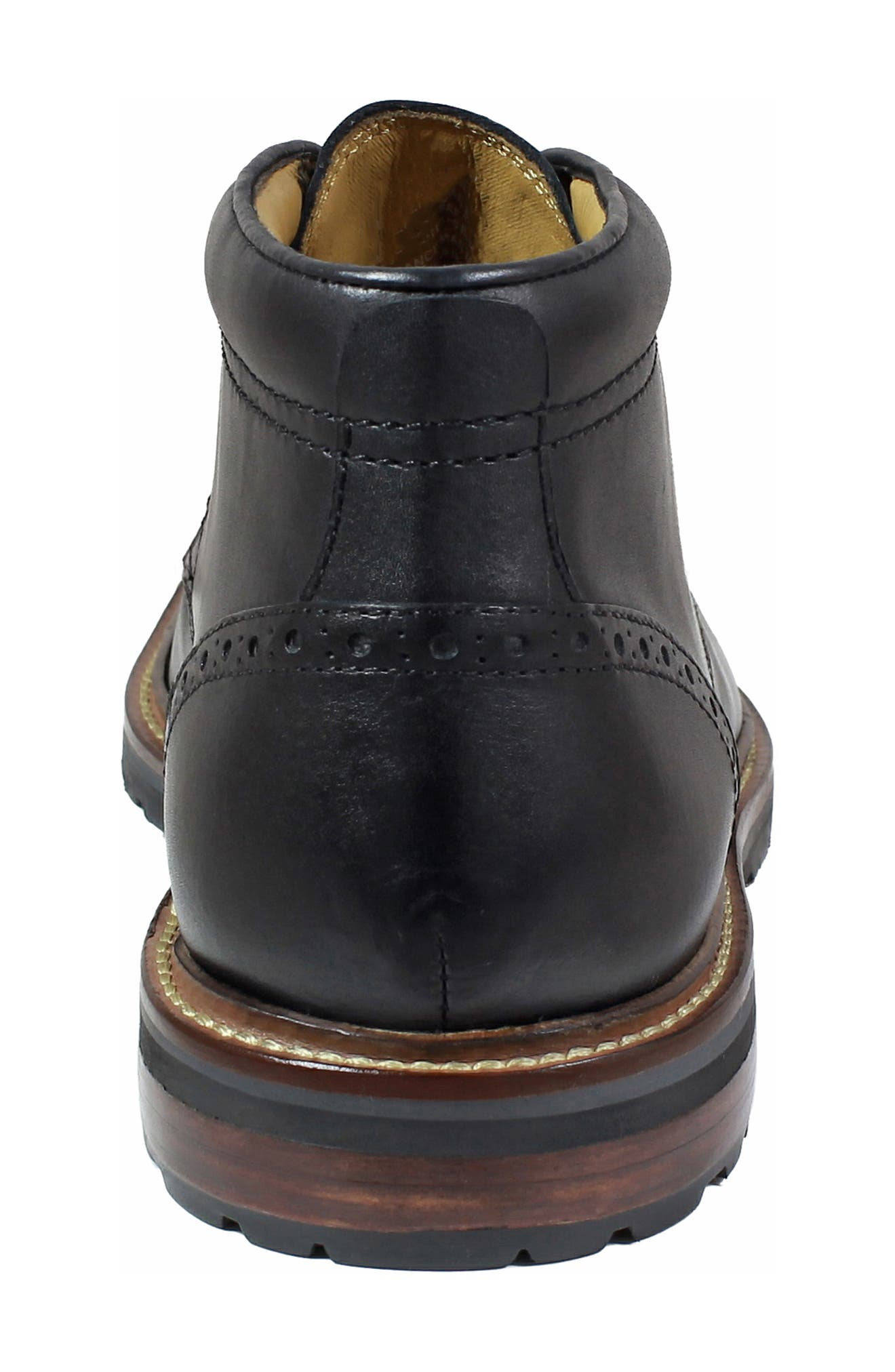 FLORSHEIM, Estabrook Lugged Chukka Boot, Alternate thumbnail 7, color, BLACK LEATHER