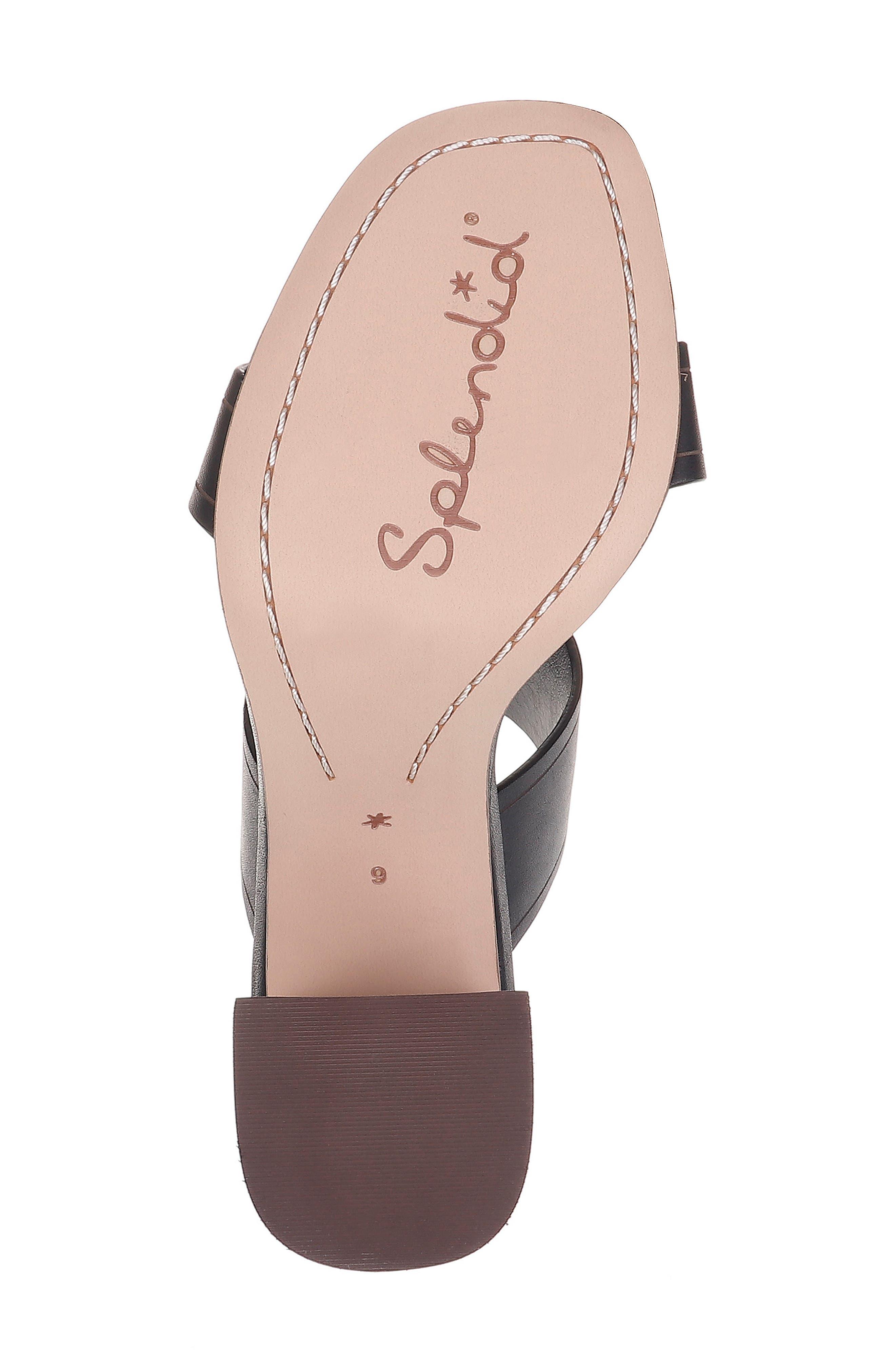 SPLENDID, Tacy Slide Sandal, Alternate thumbnail 6, color, BLACK LEATHER