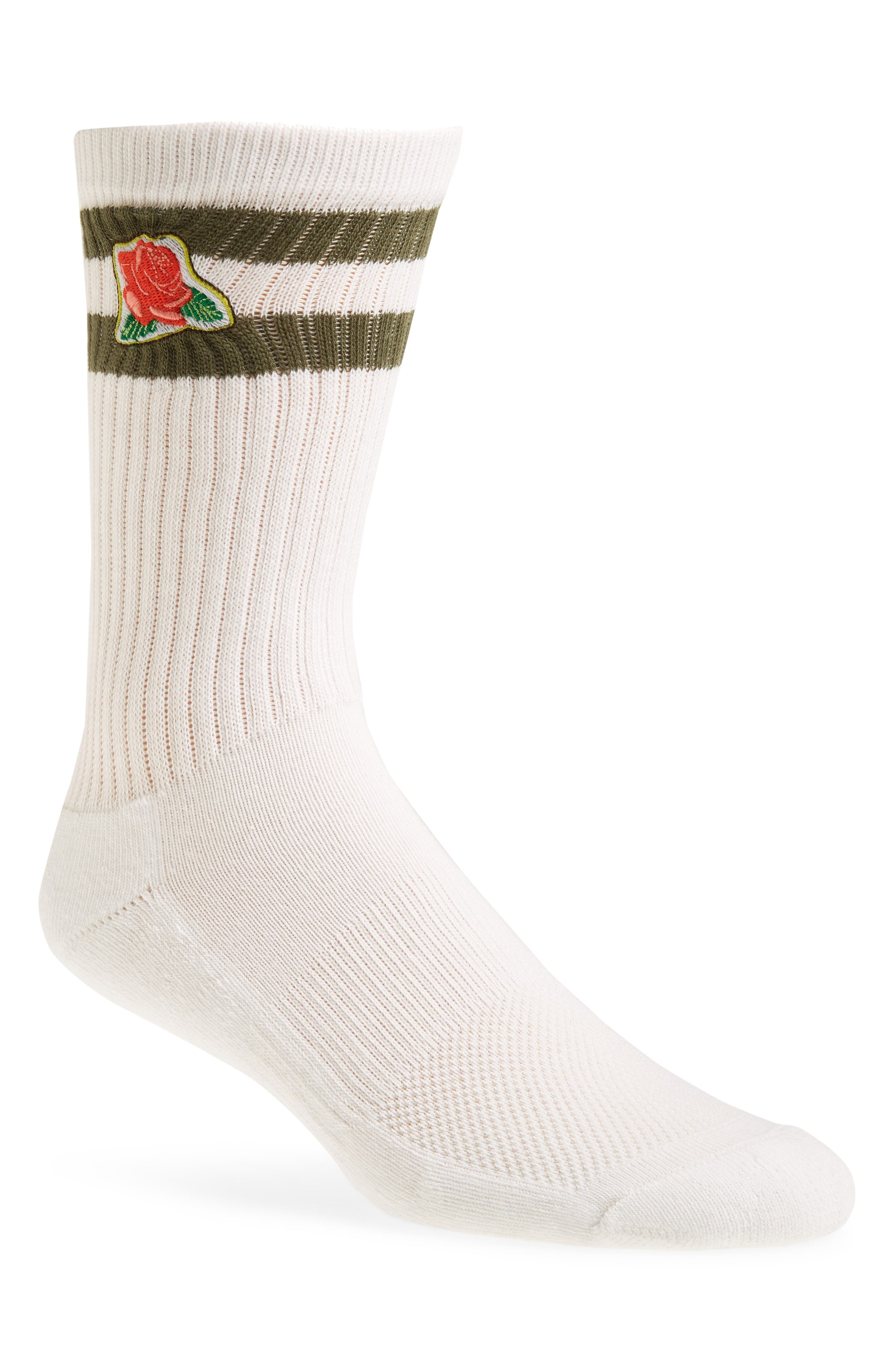THE RAIL, Embroidered Icon Crew Socks, Main thumbnail 1, color, WHITE- GREEN ROSE
