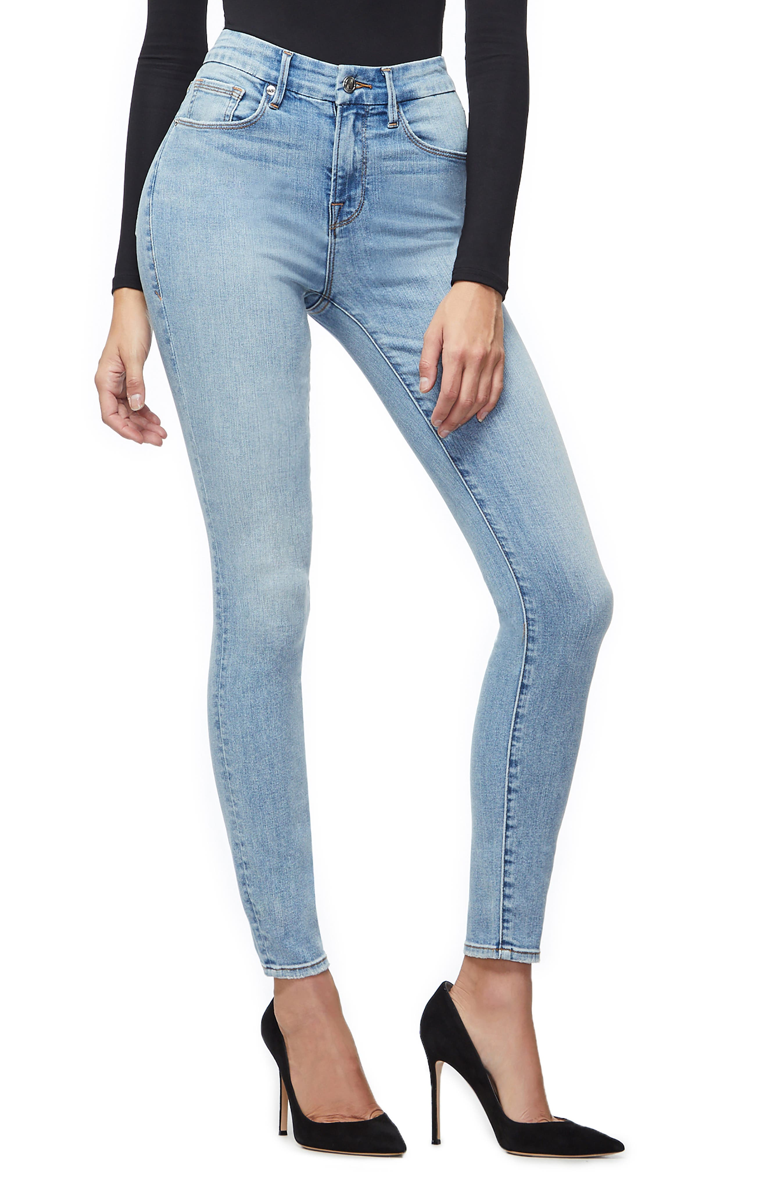 GOOD AMERICAN, Good Legs Ripped High Waist Skinny Jeans, Alternate thumbnail 5, color, BLUE221