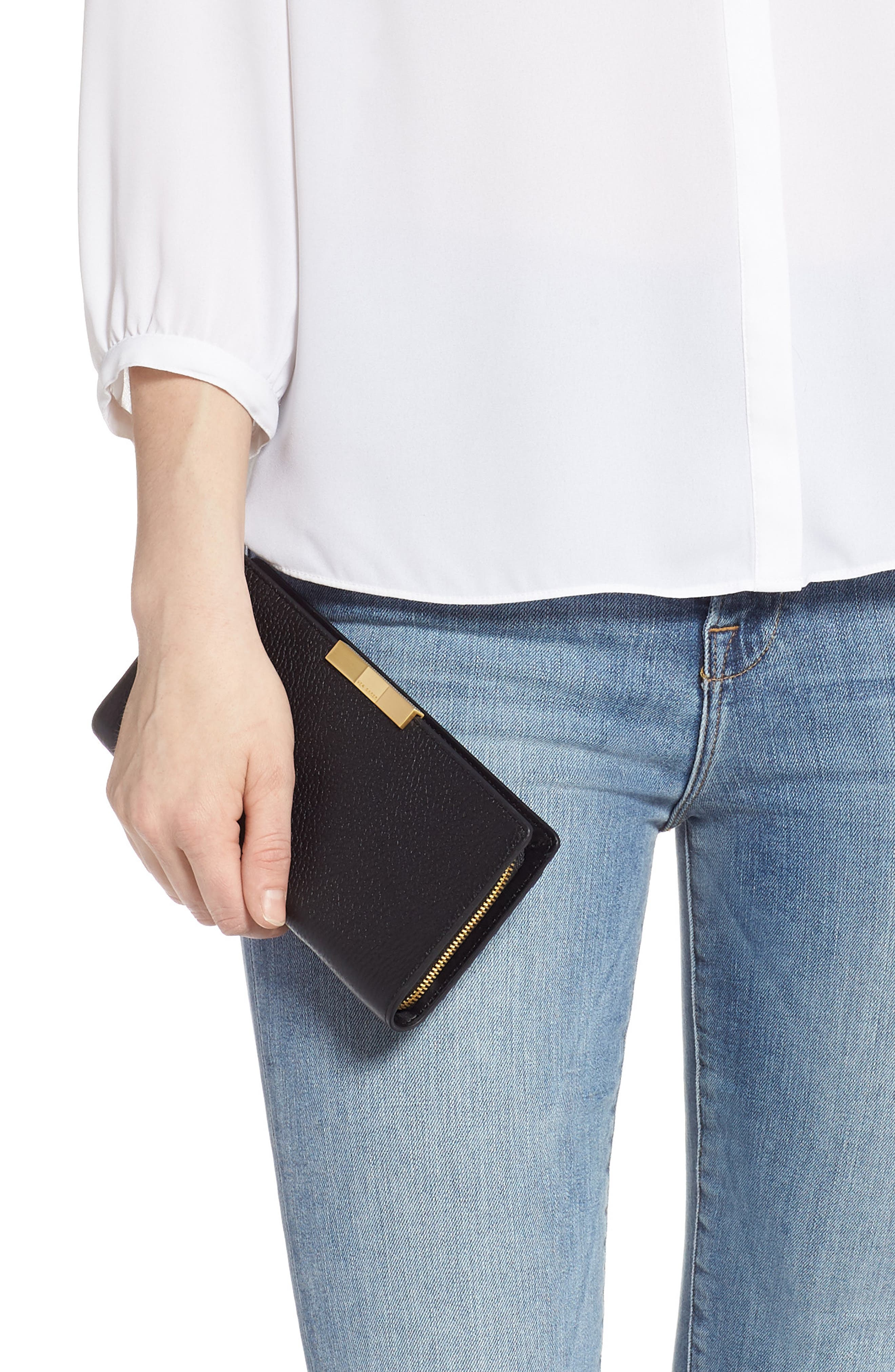 TED BAKER LONDON, Emblyn Leather Matinée Wallet, Alternate thumbnail 2, color, 001