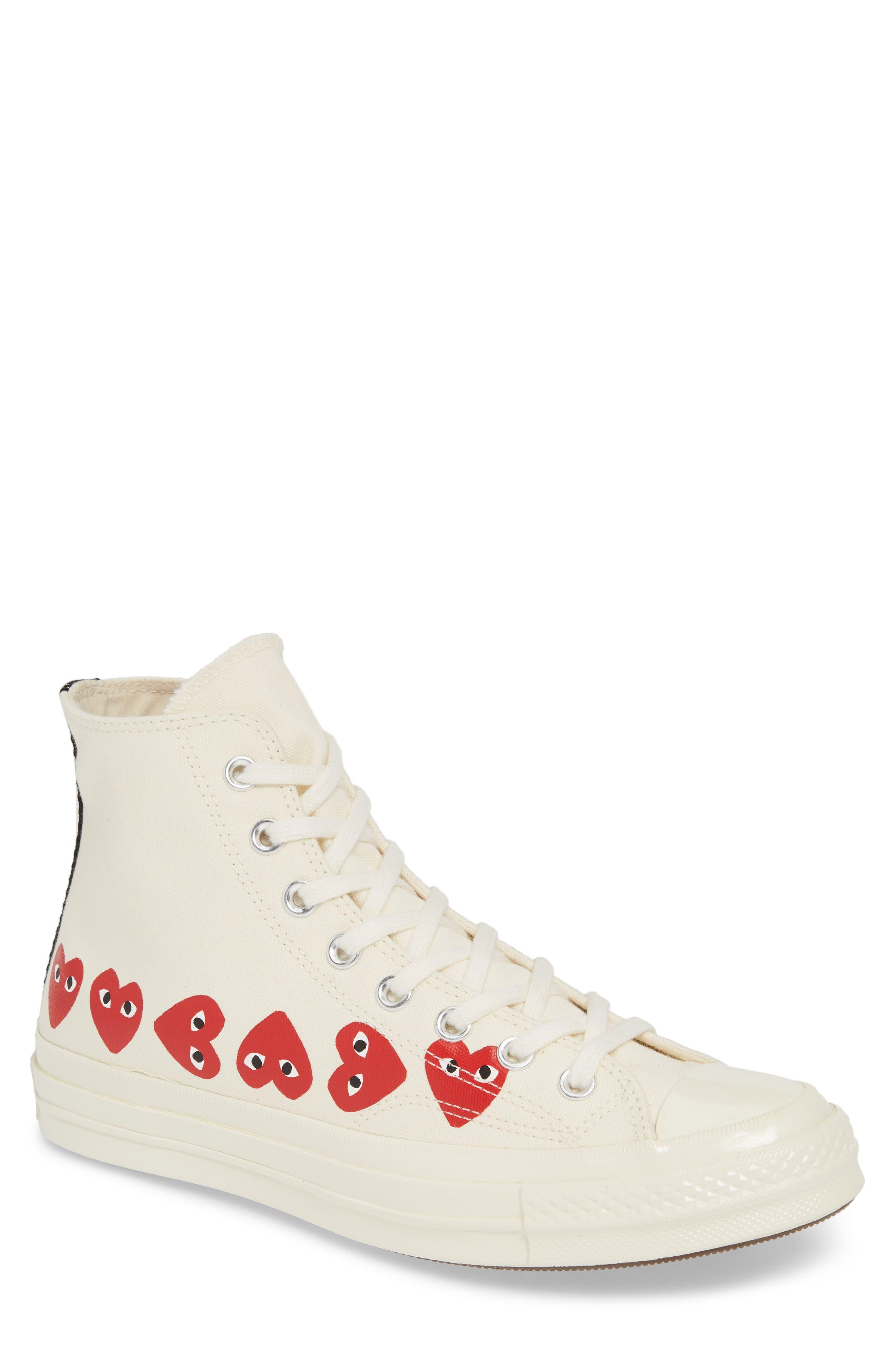 COMME DES GARÇONS PLAY, Multiheart Sneaker, Main thumbnail 1, color, OFF WHITE
