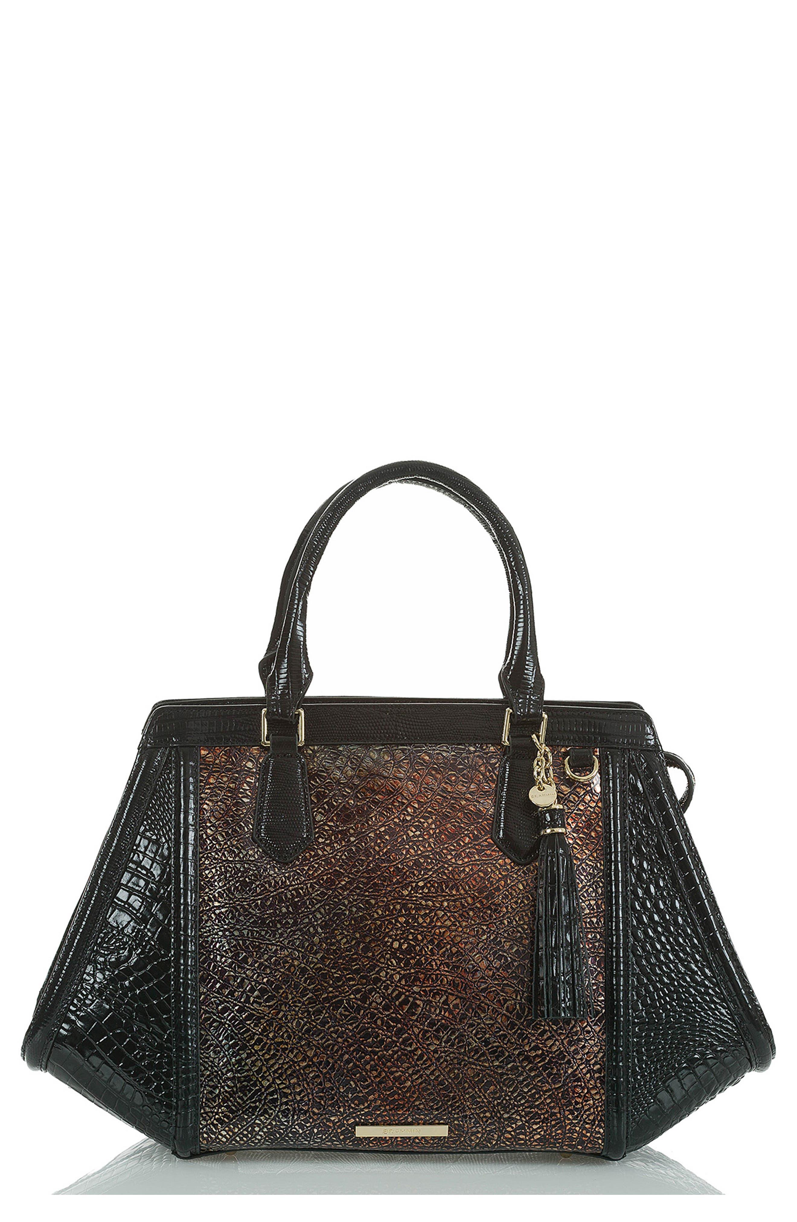 BRAHMIN Arden Embossed Leather Satchel, Main, color, MULTI