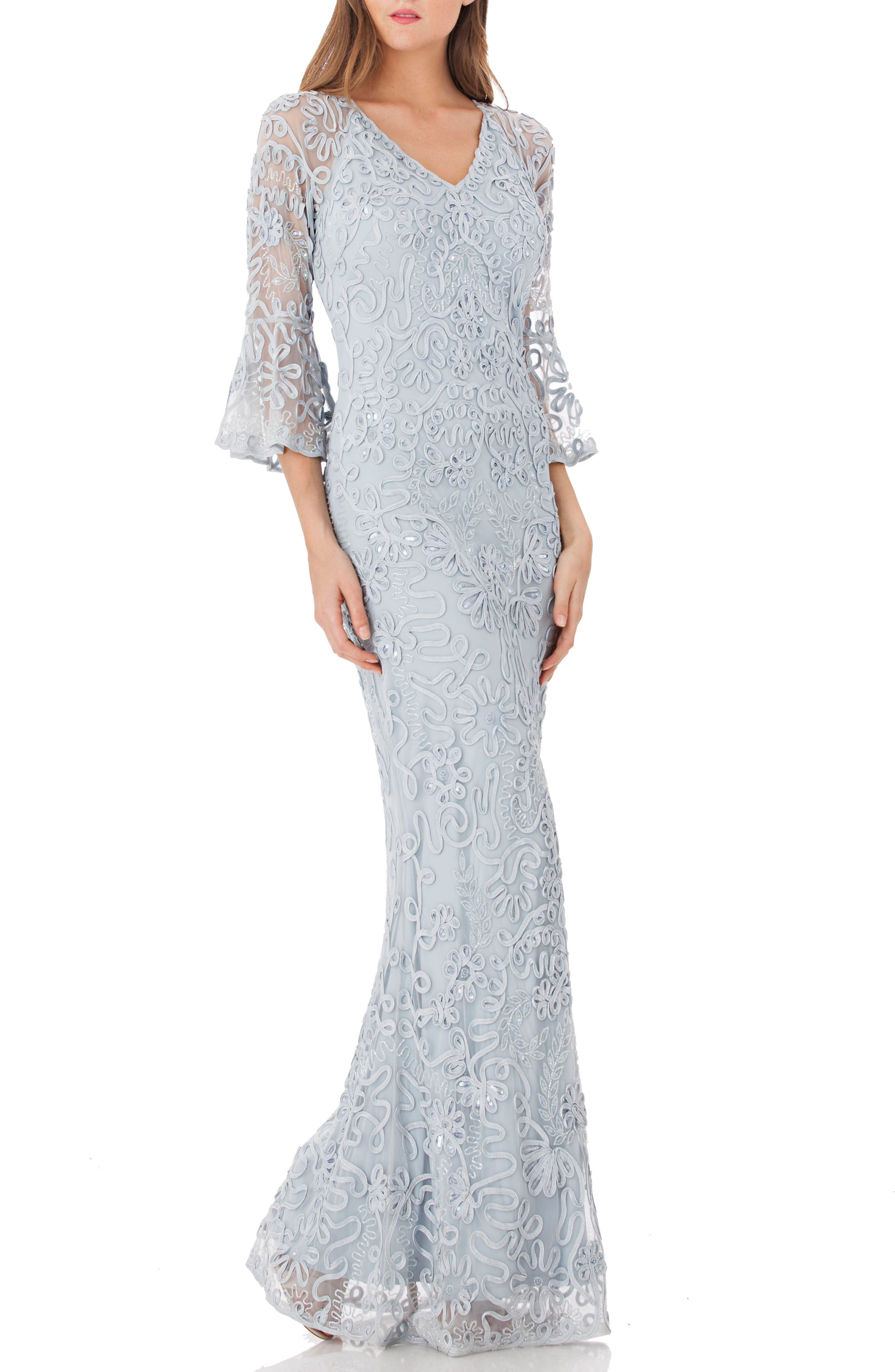 JS COLLECTIONS, Soutache Embroidered Trumpet Gown, Main thumbnail 1, color, 415
