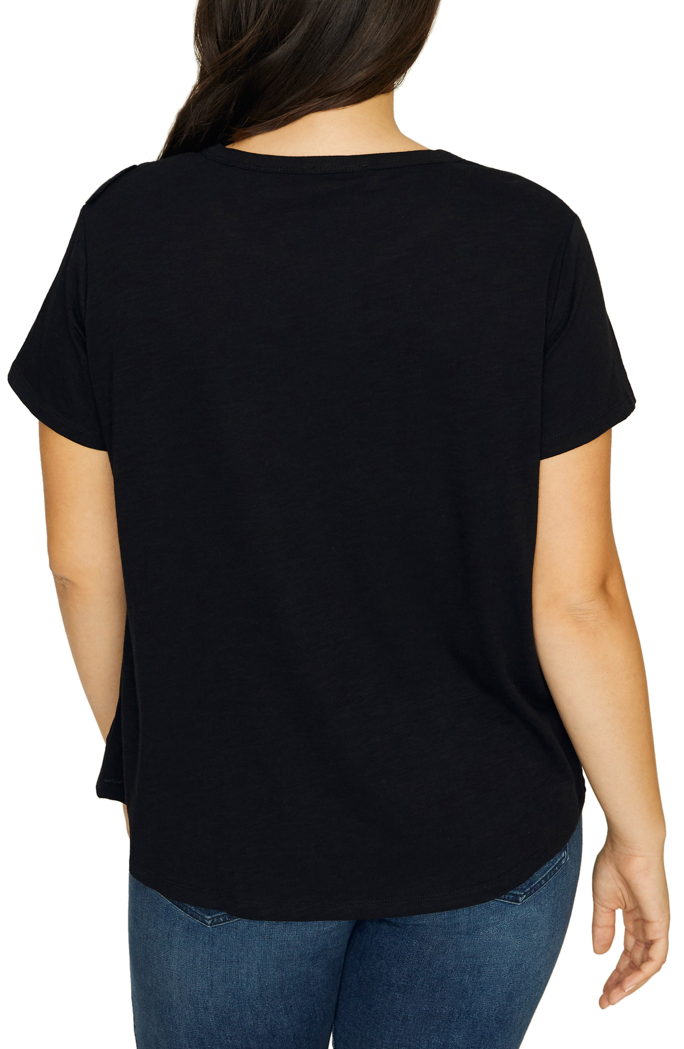 SANCTUARY, Gia Ruffle Trim Tee, Alternate thumbnail 2, color, BLACK