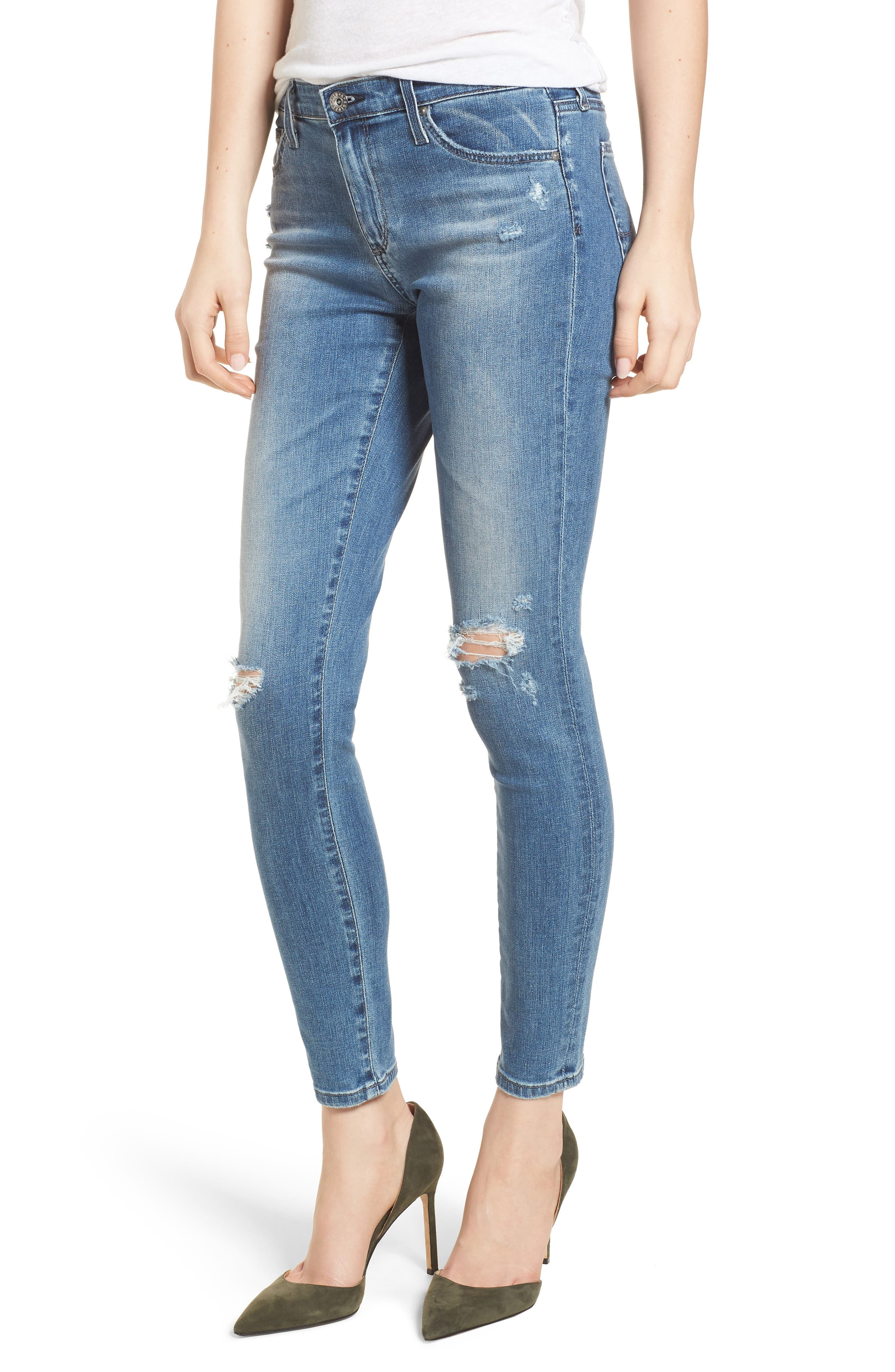 AG The Legging Ankle Jeans, Main, color, SEA SPRITE DESTRUCTED