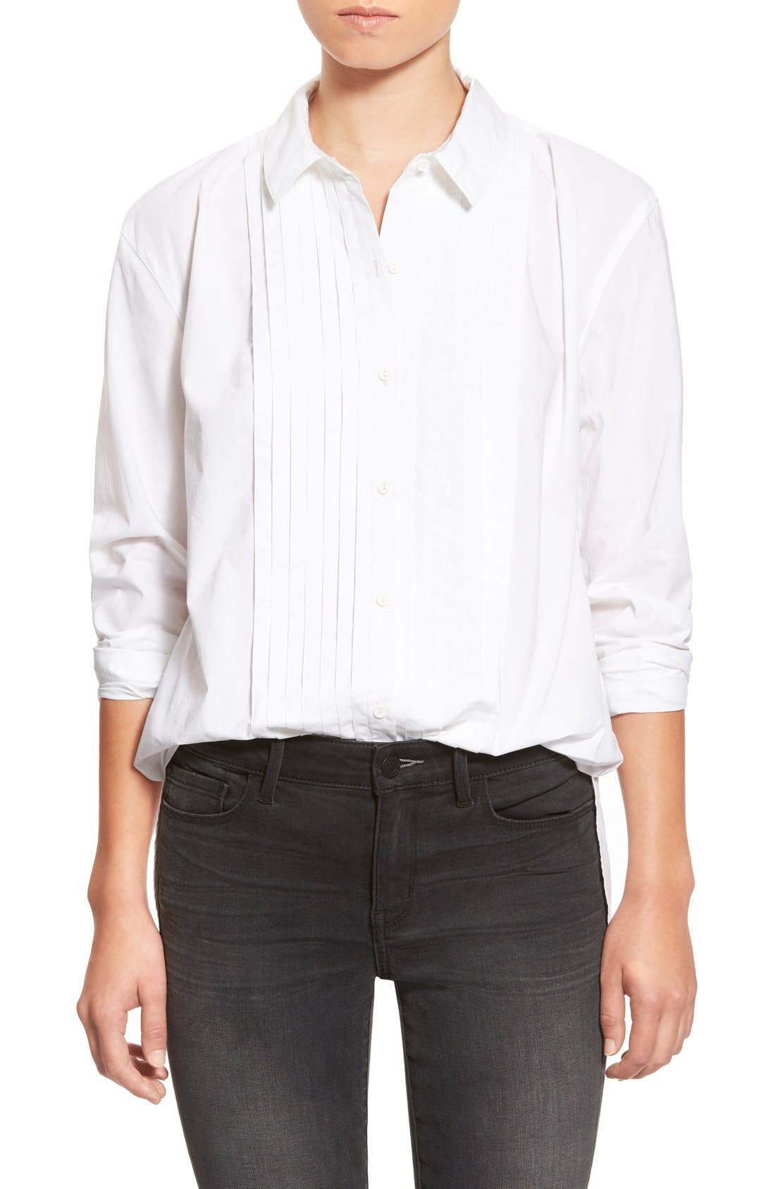 TREASURE & BOND Treasure&Bond Pintuck Pleat Boyfriend Shirt, Main, color, 100