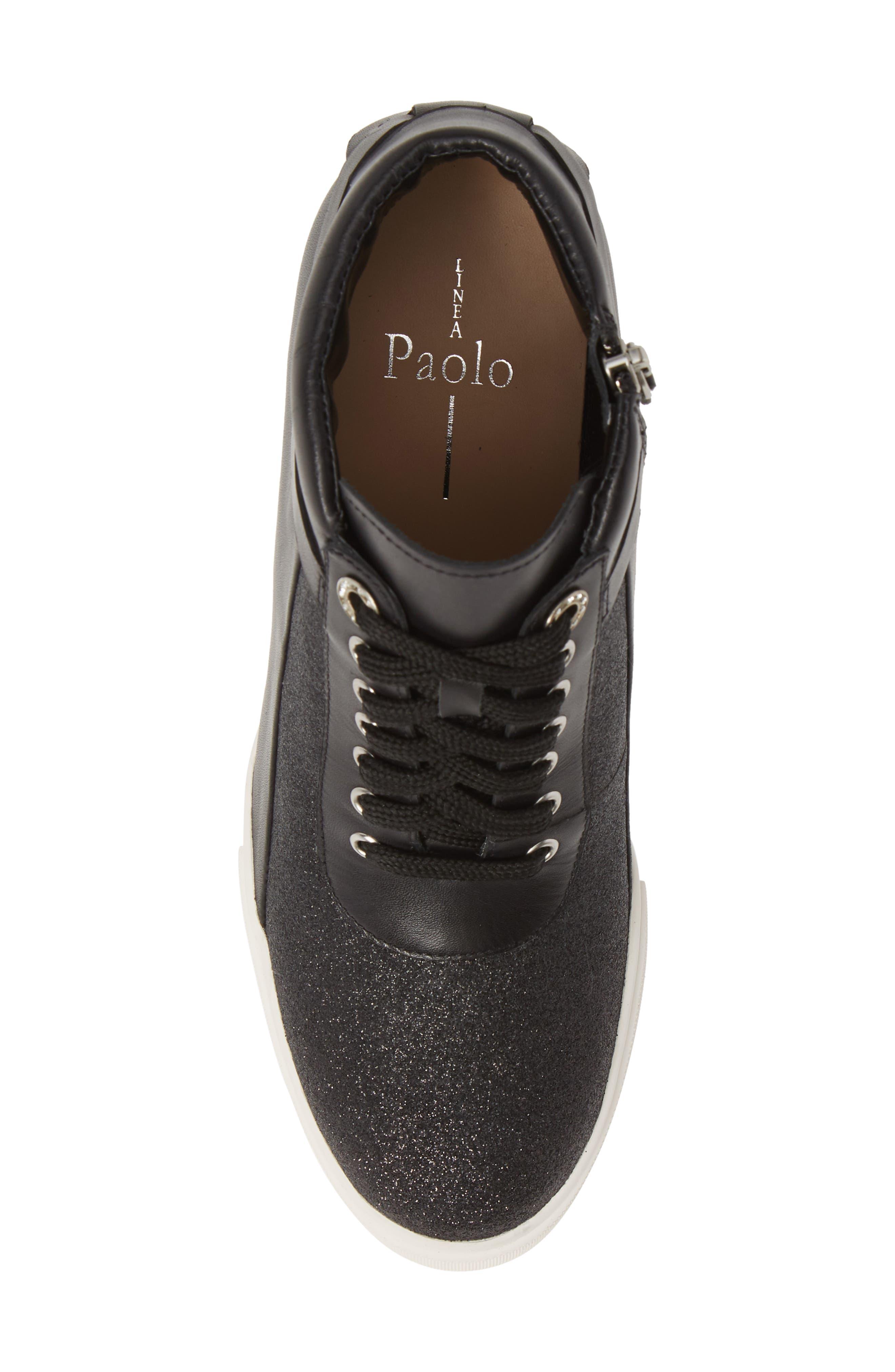 LINEA PAOLO, Freja Wedge Sneaker, Alternate thumbnail 5, color, BLACK GLISTEN LEATHER