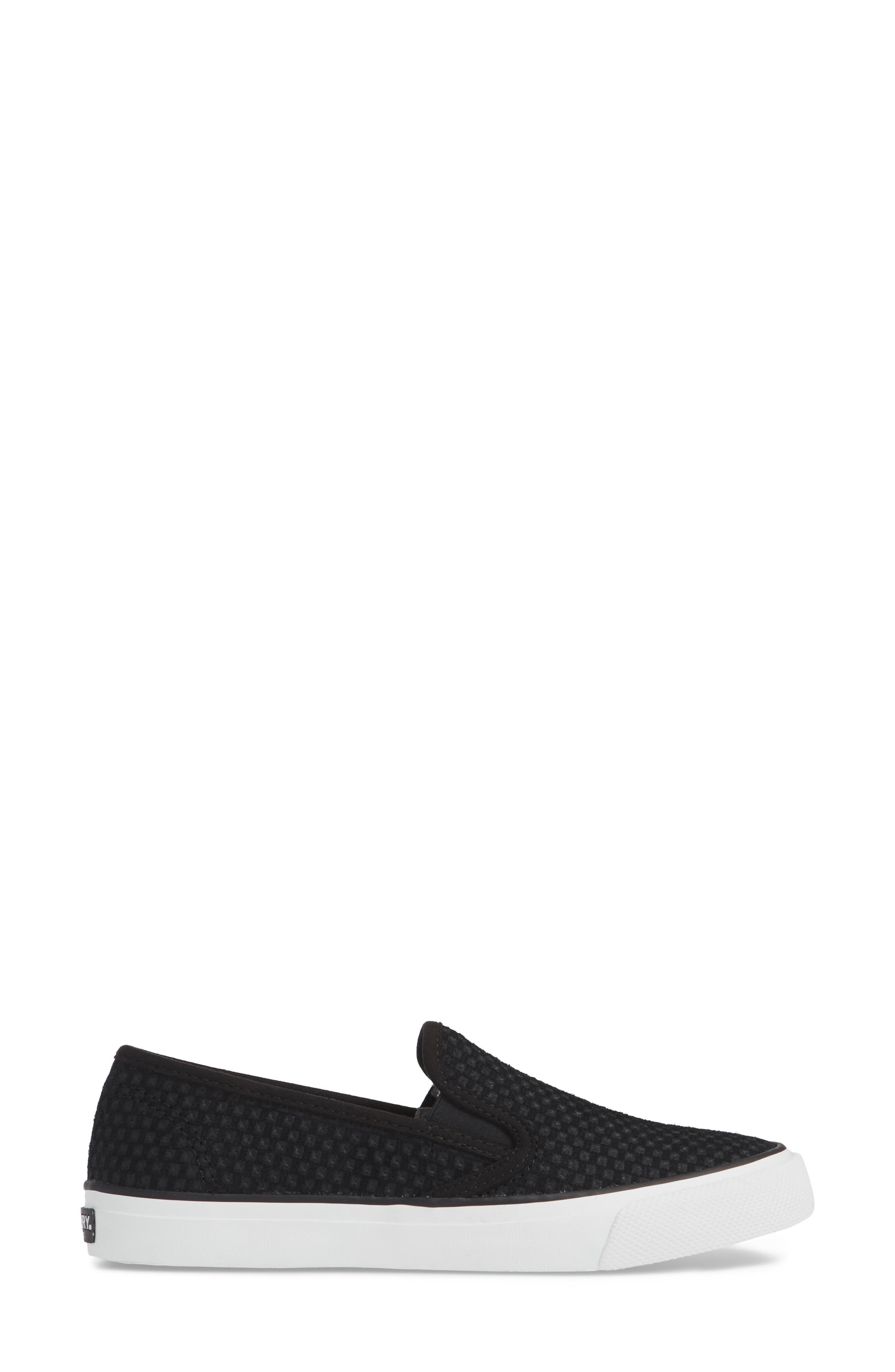 SPERRY, Seaside Embossed Slip-On Sneaker, Alternate thumbnail 3, color, BLACK CANVAS
